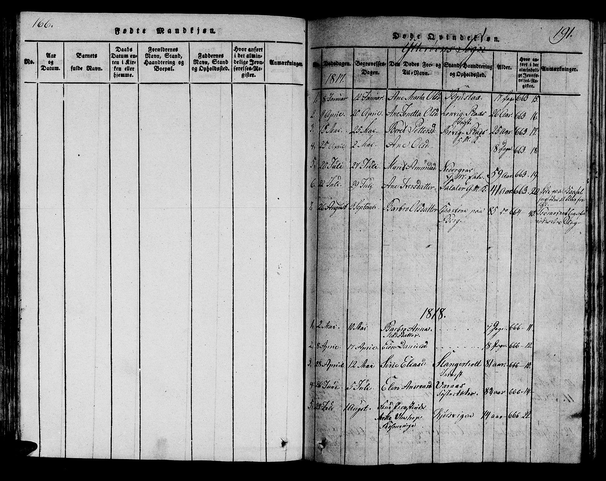 SAT, Ministerialprotokoller, klokkerbøker og fødselsregistre - Nord-Trøndelag, 722/L0217: Ministerialbok nr. 722A04, 1817-1842, s. 166-191
