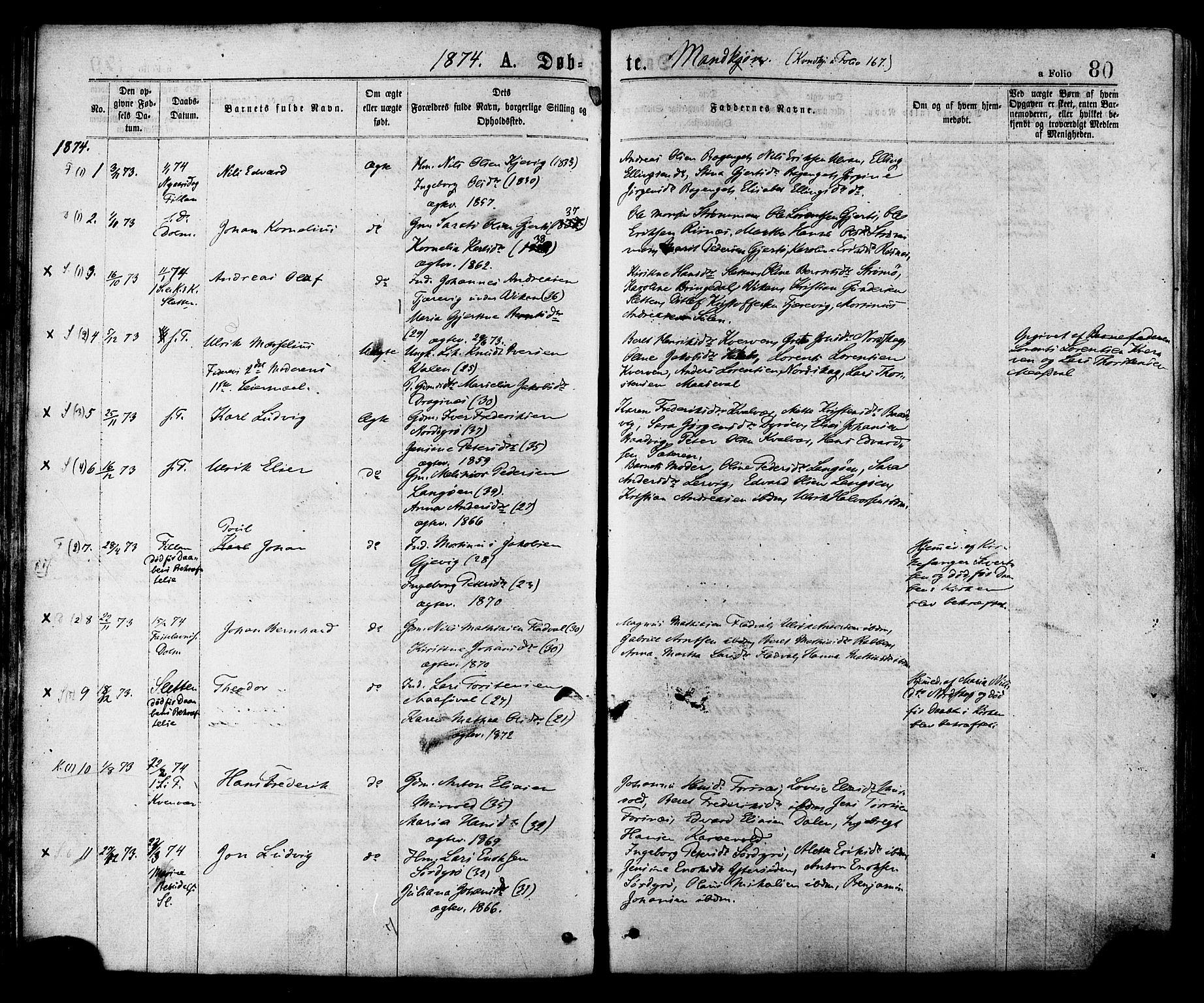 SAT, Ministerialprotokoller, klokkerbøker og fødselsregistre - Sør-Trøndelag, 634/L0532: Ministerialbok nr. 634A08, 1871-1881, s. 80