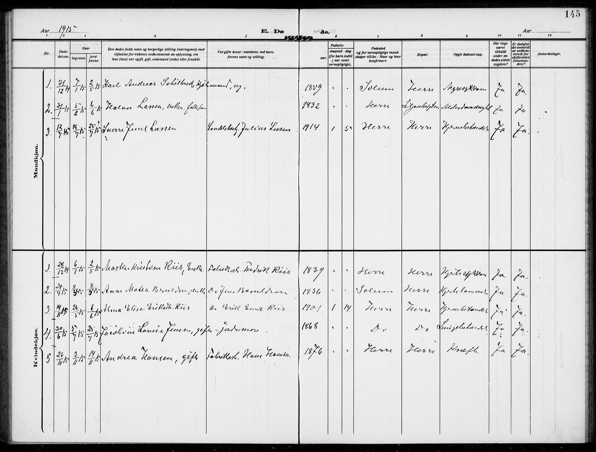 SAKO, Bamble kirkebøker, F/Fc/L0001: Ministerialbok nr. III 1, 1909-1916, s. 145