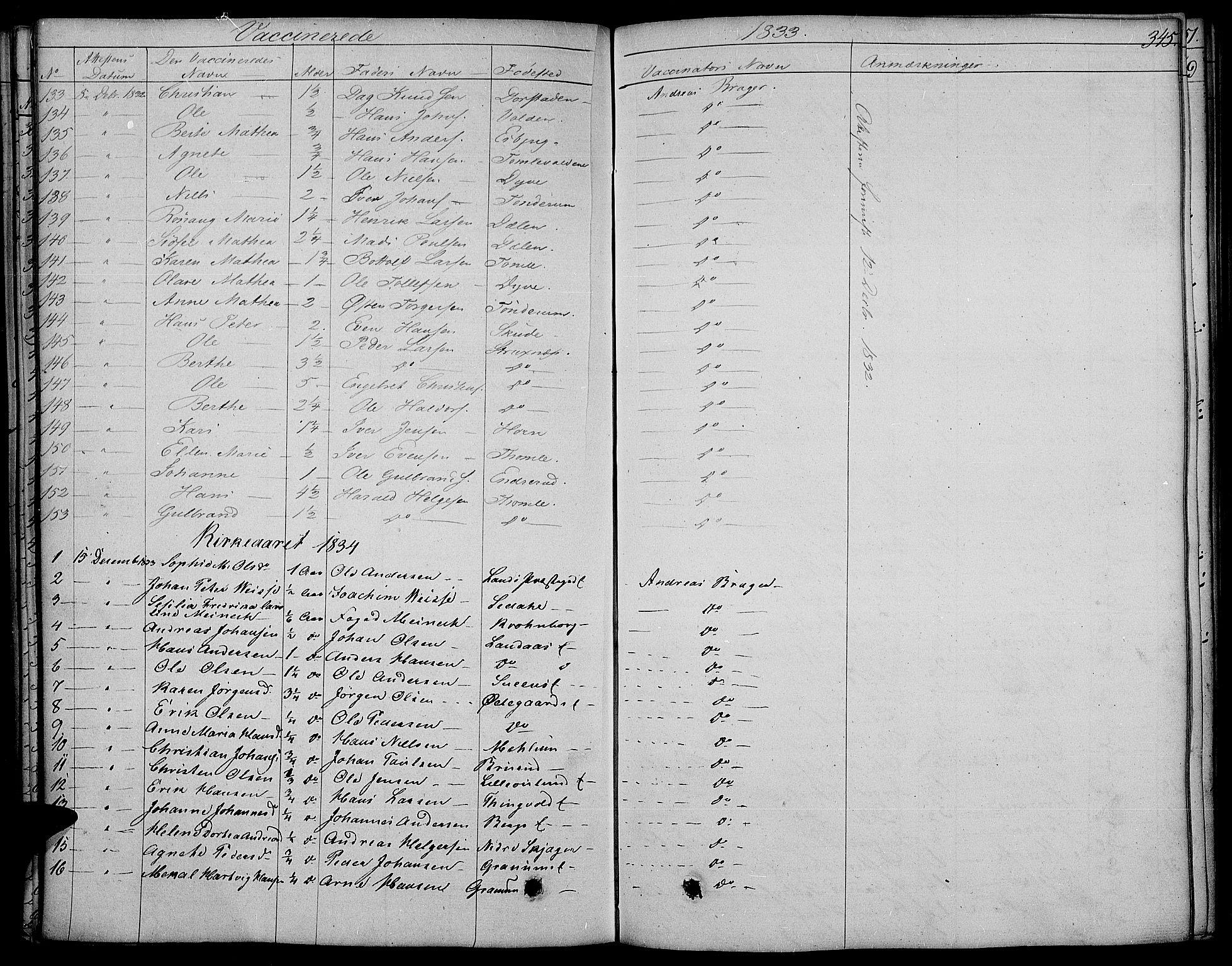 SAH, Land prestekontor, Ministerialbok nr. 8, 1830-1846, s. 345