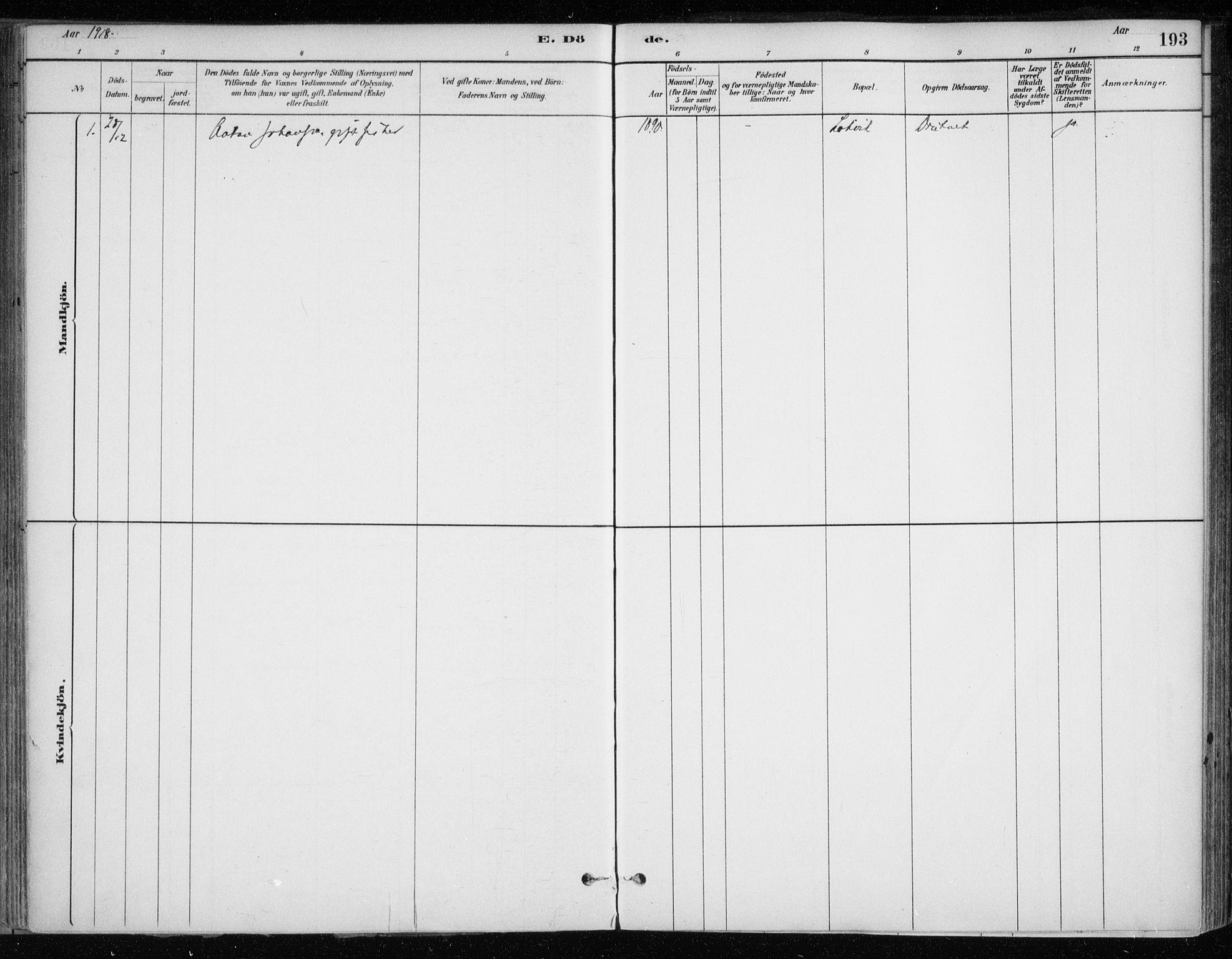 SATØ, Hammerfest sokneprestkontor, H/Ha/L0013.kirke: Ministerialbok nr. 13, 1898-1917, s. 193