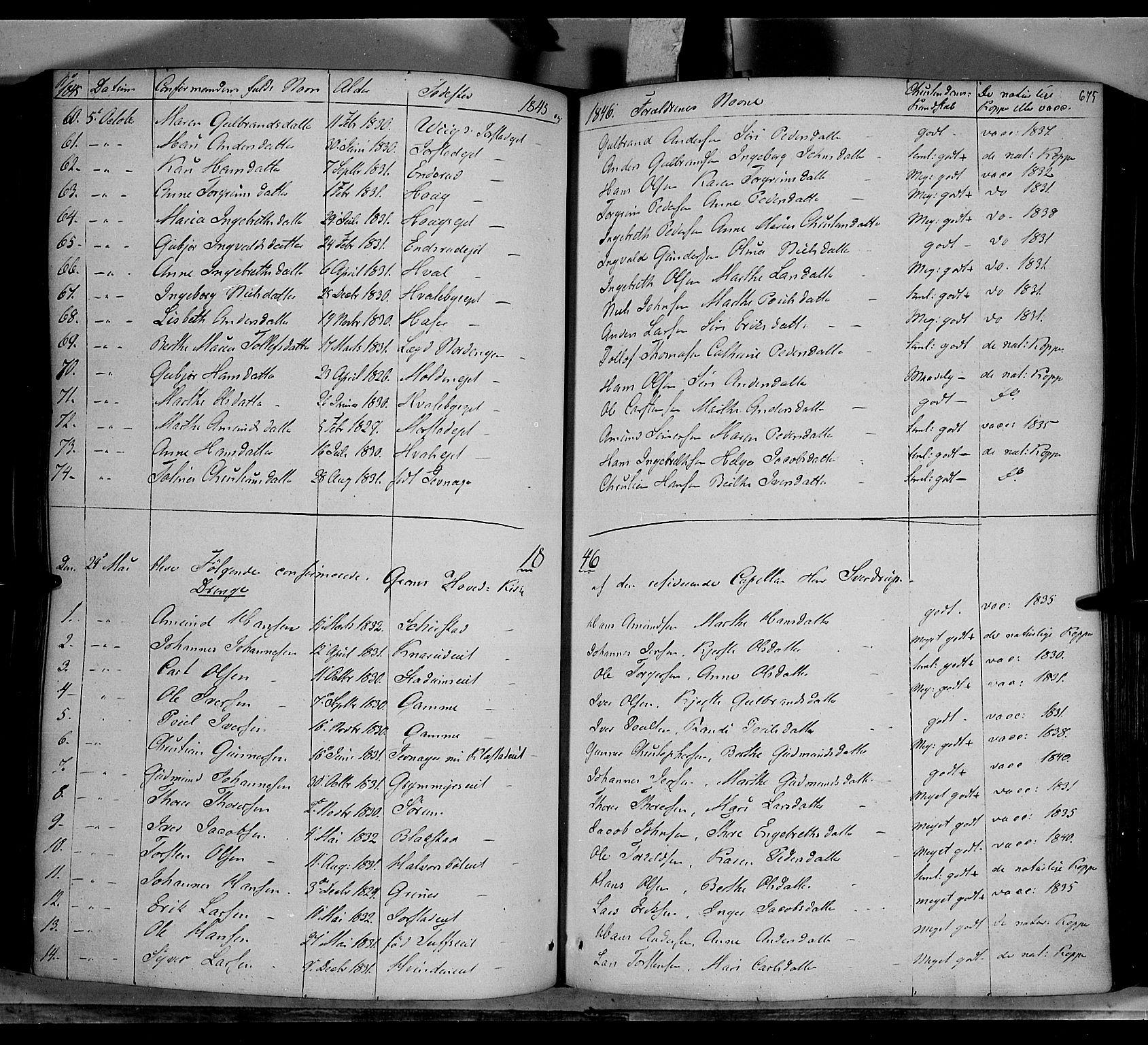 SAH, Gran prestekontor, Ministerialbok nr. 11, 1842-1856, s. 674-675
