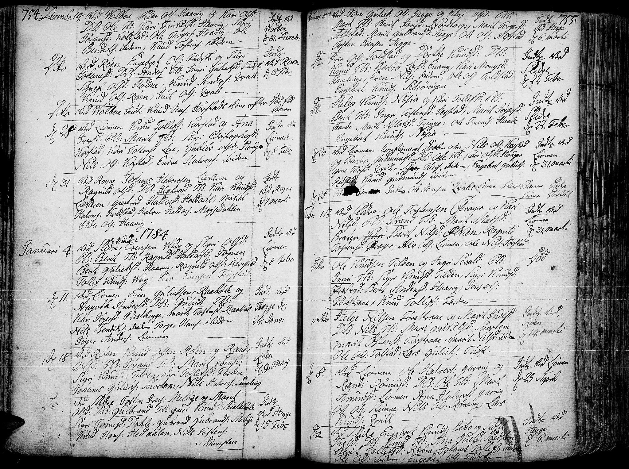 SAH, Slidre prestekontor, Ministerialbok nr. 1, 1724-1814, s. 754-755