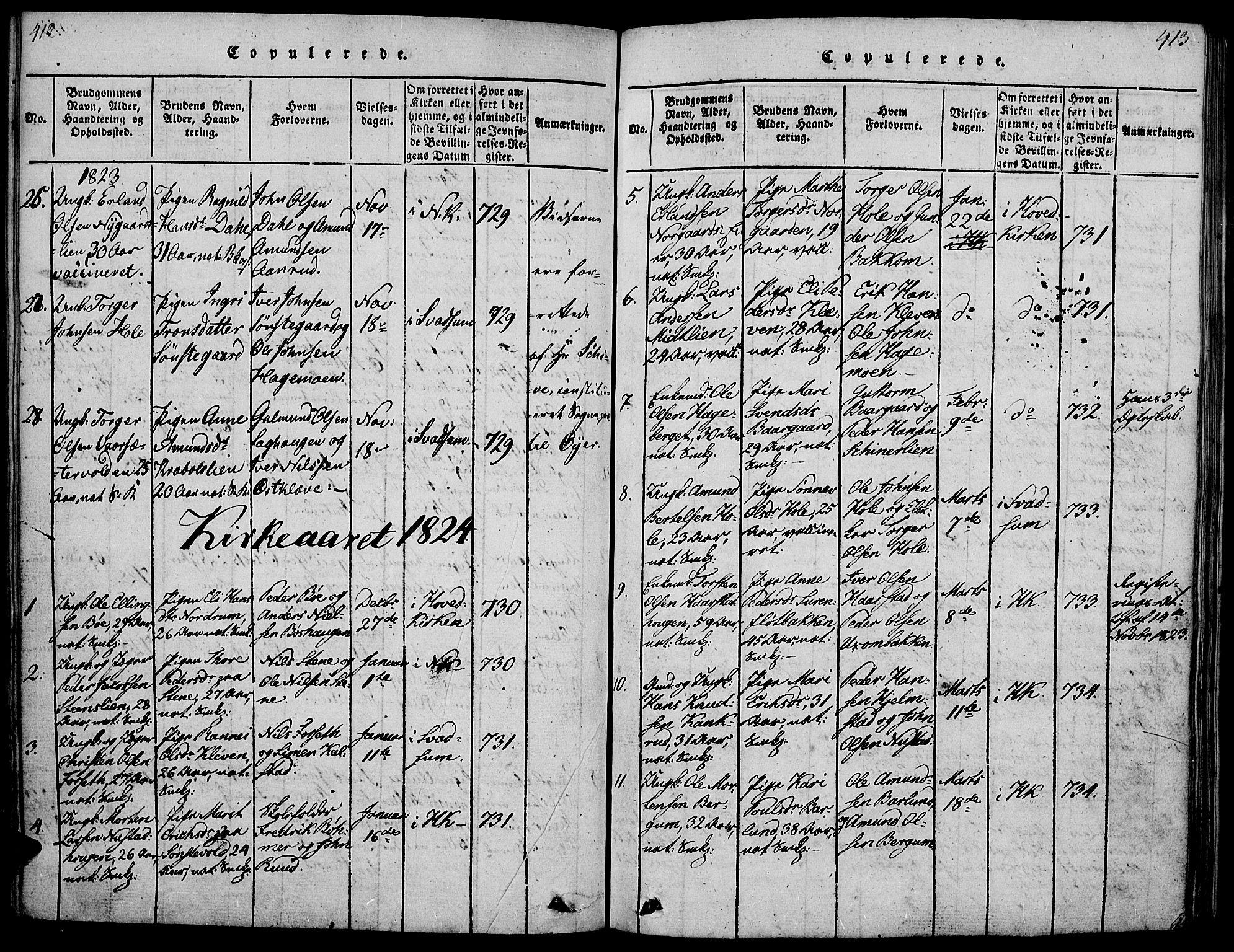 SAH, Gausdal prestekontor, Ministerialbok nr. 5, 1817-1829, s. 412-413