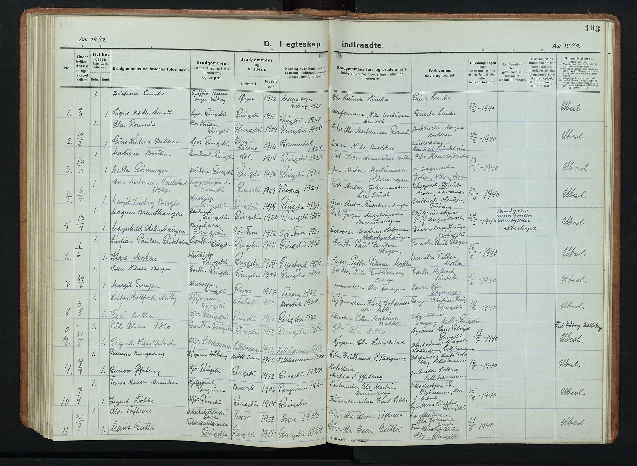 SAH, Ringebu prestekontor, Klokkerbok nr. 11, 1921-1943, s. 193