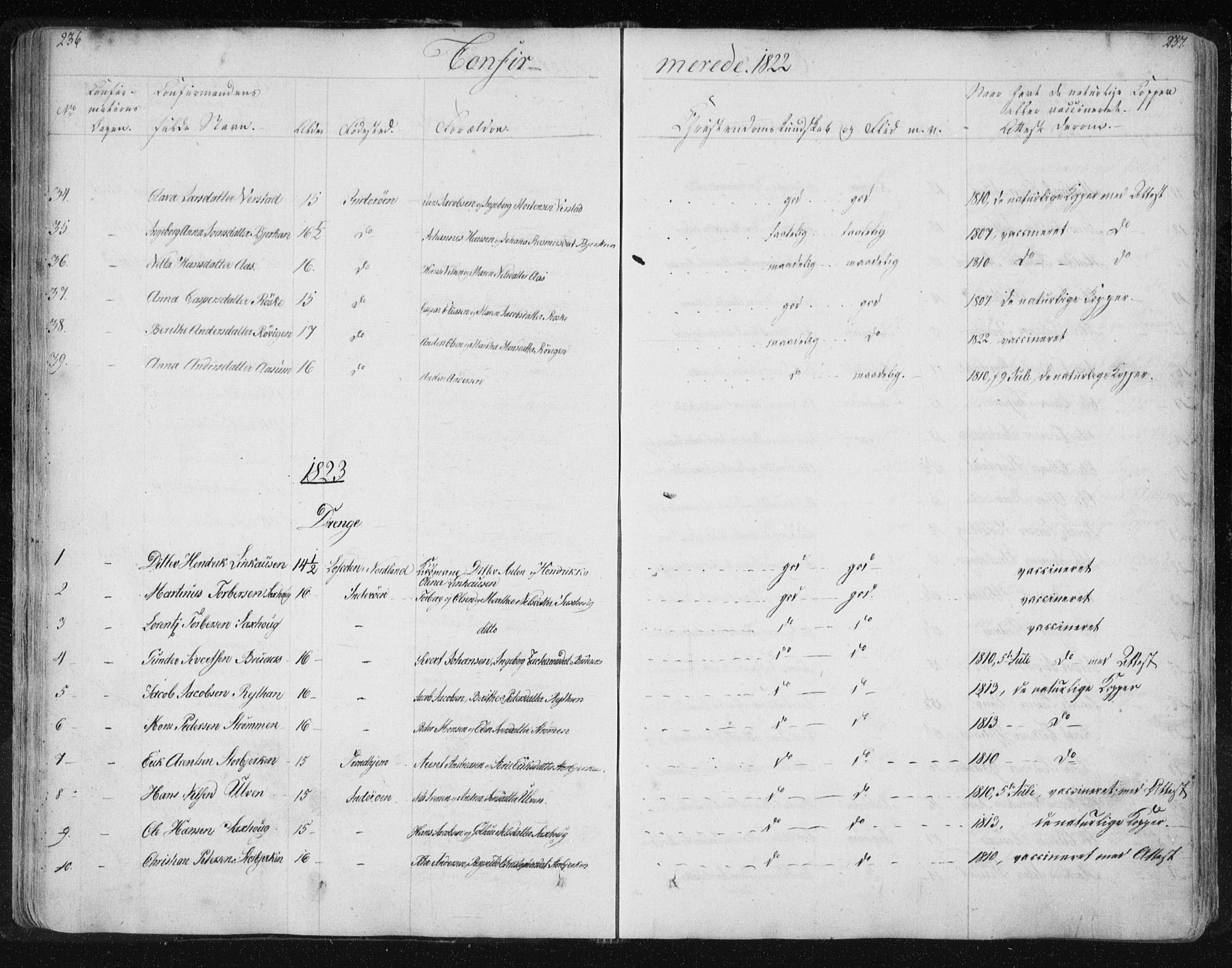 SAT, Ministerialprotokoller, klokkerbøker og fødselsregistre - Nord-Trøndelag, 730/L0276: Ministerialbok nr. 730A05, 1822-1830, s. 236-237