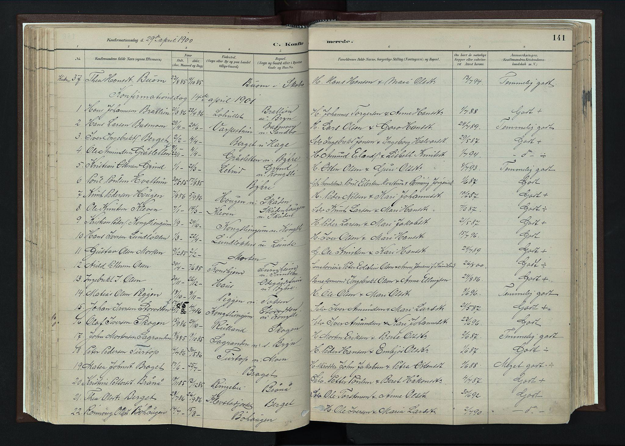 SAH, Nord-Fron prestekontor, Ministerialbok nr. 4, 1884-1914, s. 141