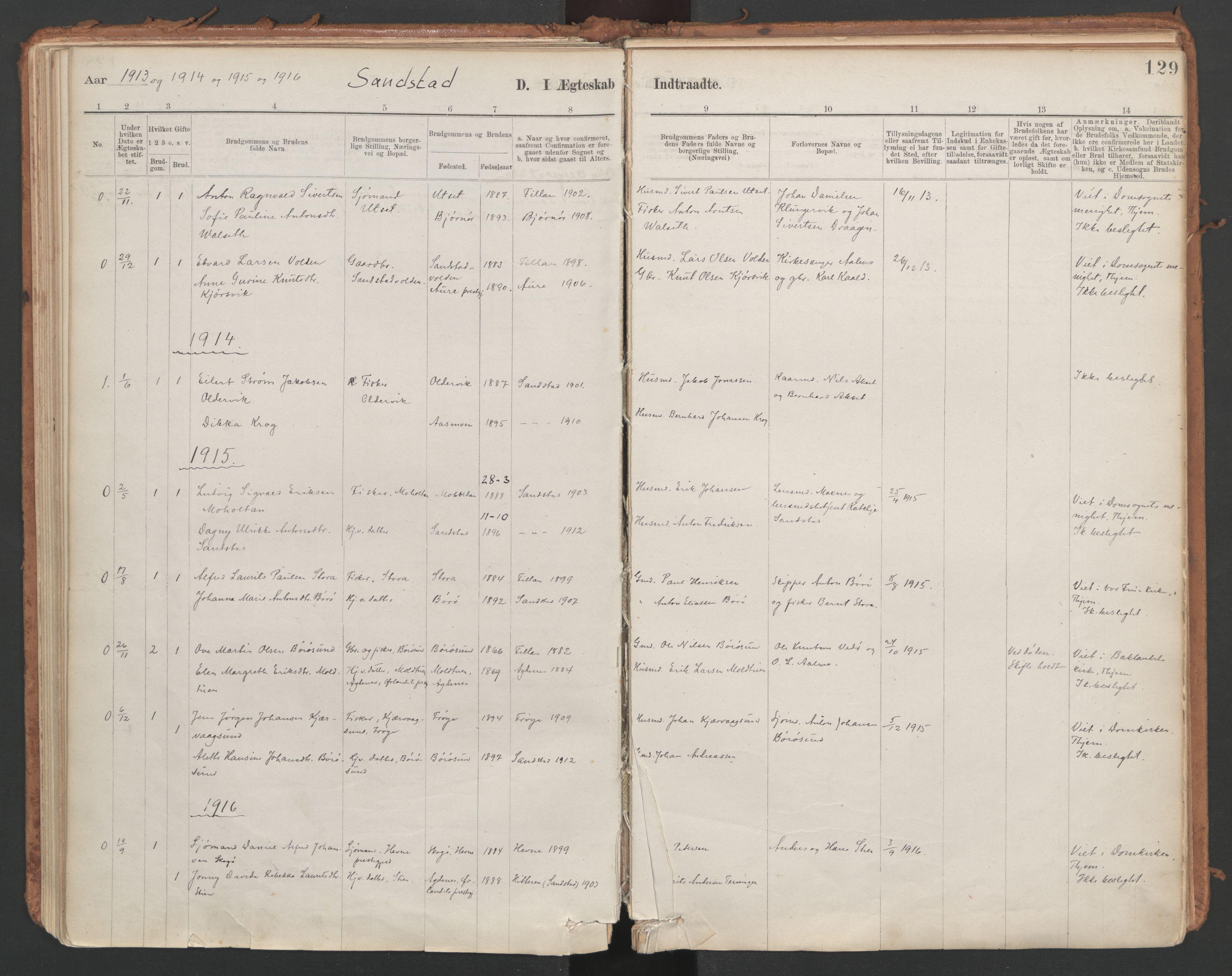 SAT, Ministerialprotokoller, klokkerbøker og fødselsregistre - Sør-Trøndelag, 639/L0572: Ministerialbok nr. 639A01, 1890-1920, s. 129