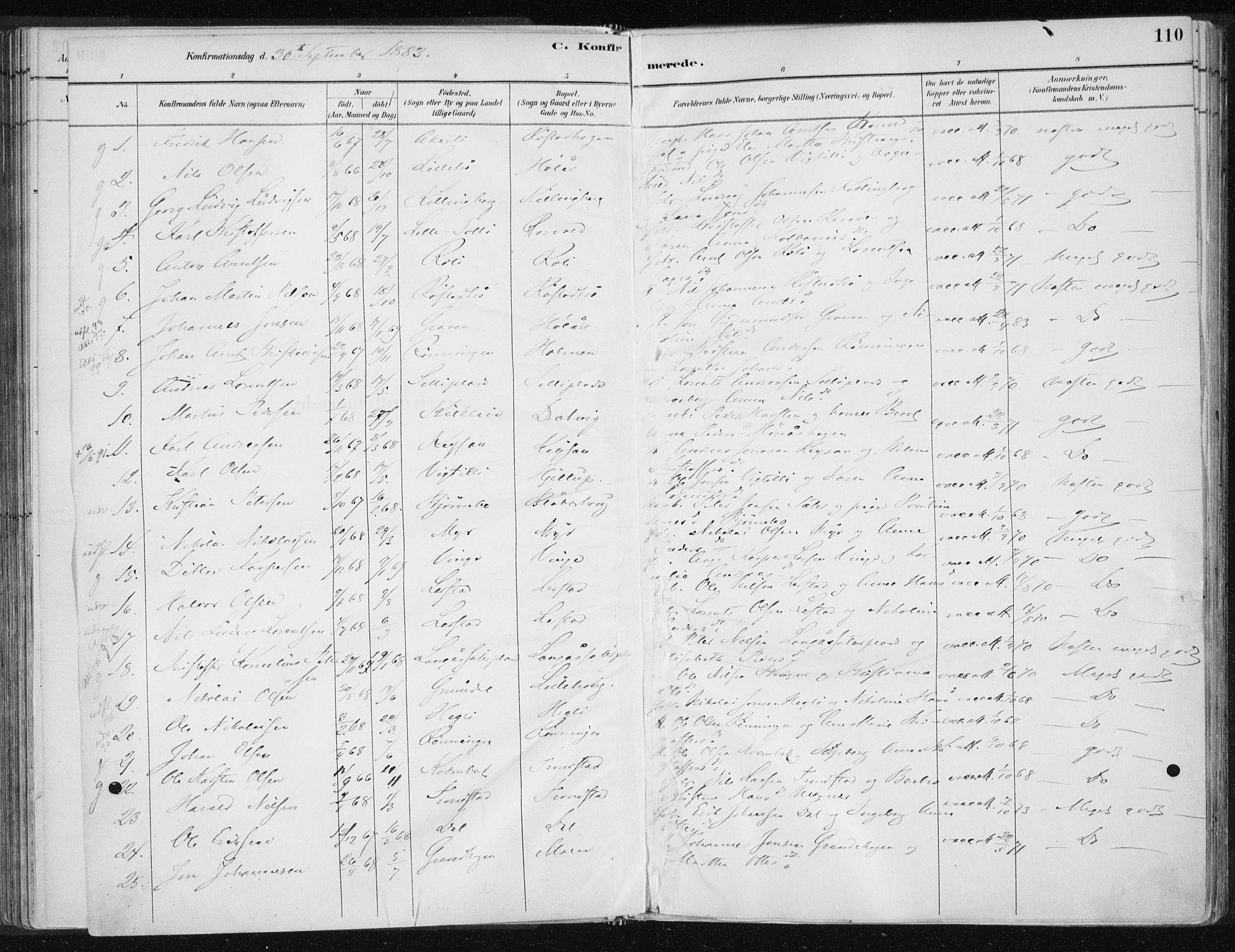 SAT, Ministerialprotokoller, klokkerbøker og fødselsregistre - Nord-Trøndelag, 701/L0010: Ministerialbok nr. 701A10, 1883-1899, s. 110