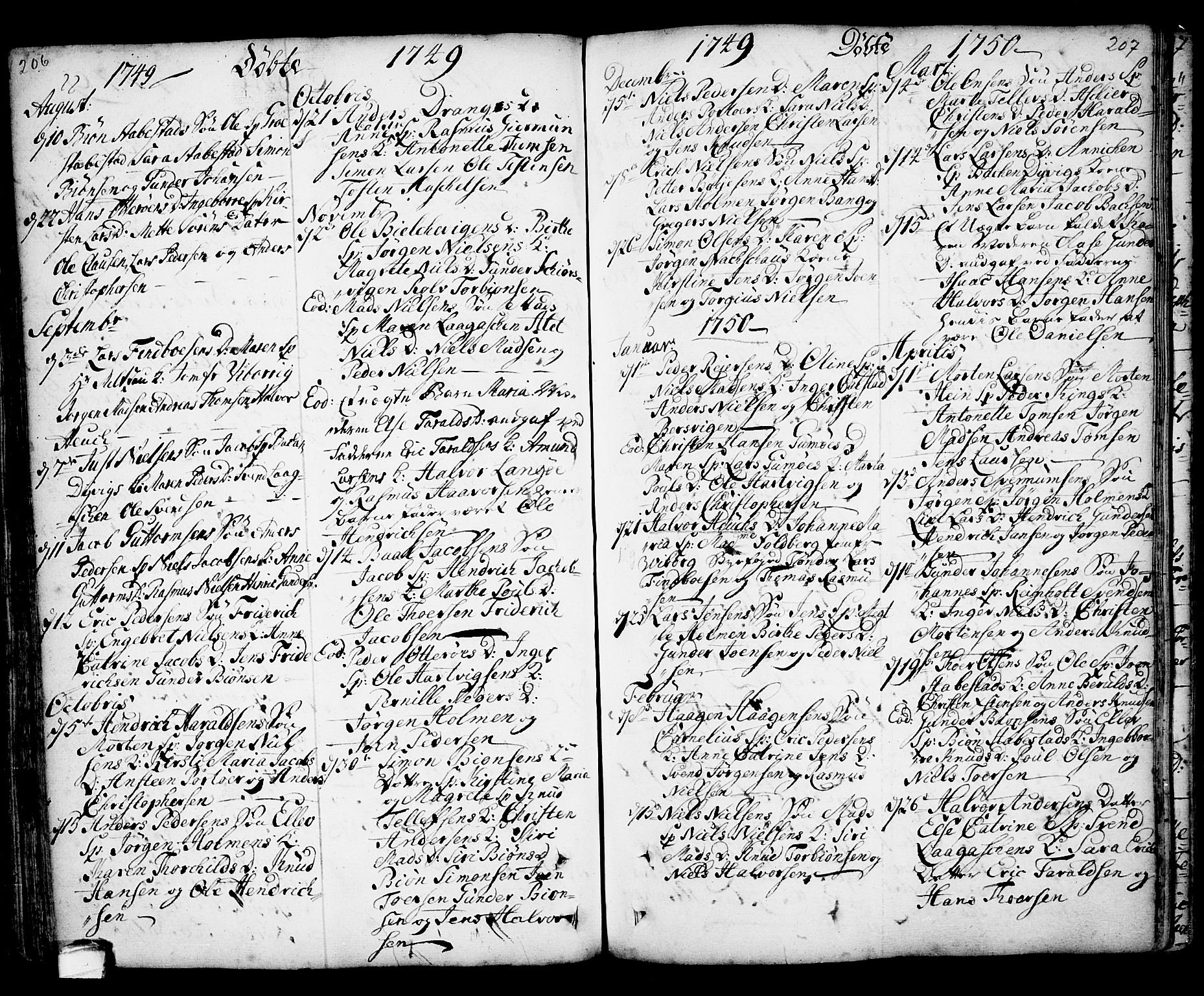 SAKO, Kragerø kirkebøker, F/Fa/L0001: Ministerialbok nr. 1, 1702-1766, s. 206-207