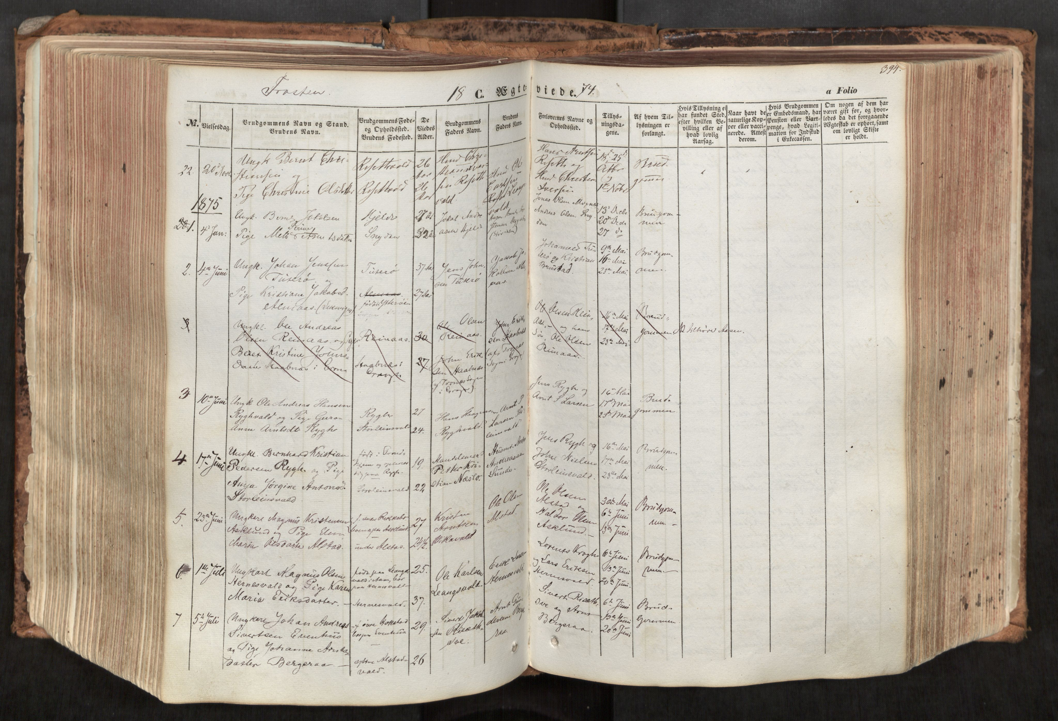 SAT, Ministerialprotokoller, klokkerbøker og fødselsregistre - Nord-Trøndelag, 713/L0116: Ministerialbok nr. 713A07, 1850-1877, s. 394