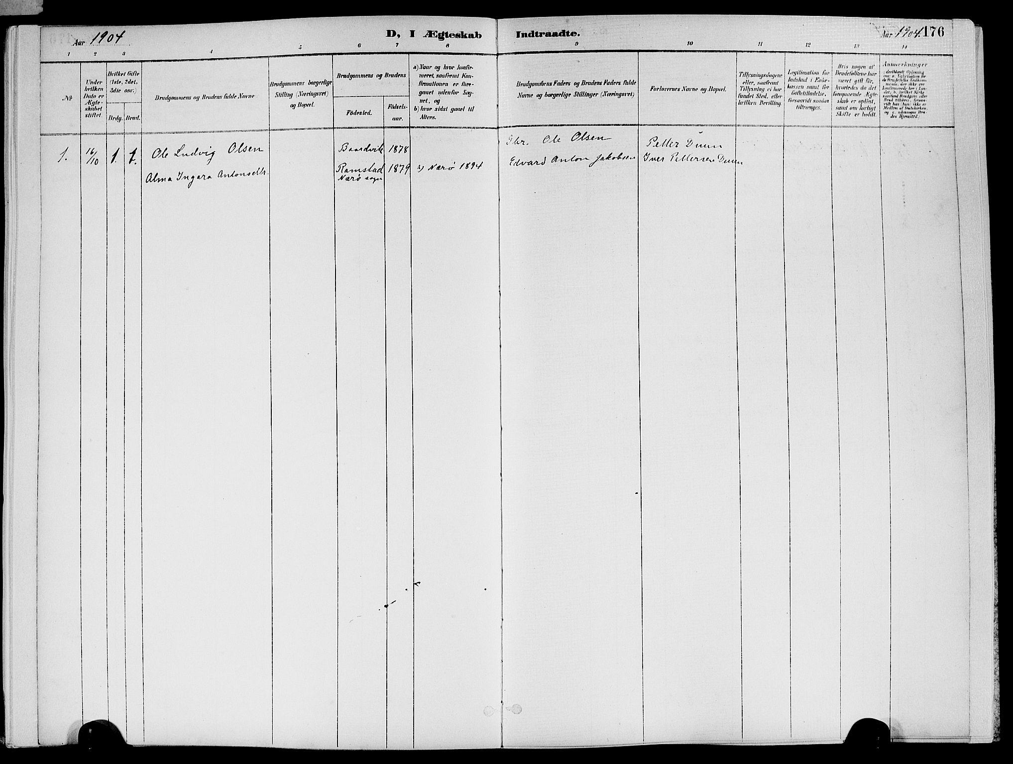 SAT, Ministerialprotokoller, klokkerbøker og fødselsregistre - Nord-Trøndelag, 773/L0617: Ministerialbok nr. 773A08, 1887-1910, s. 176