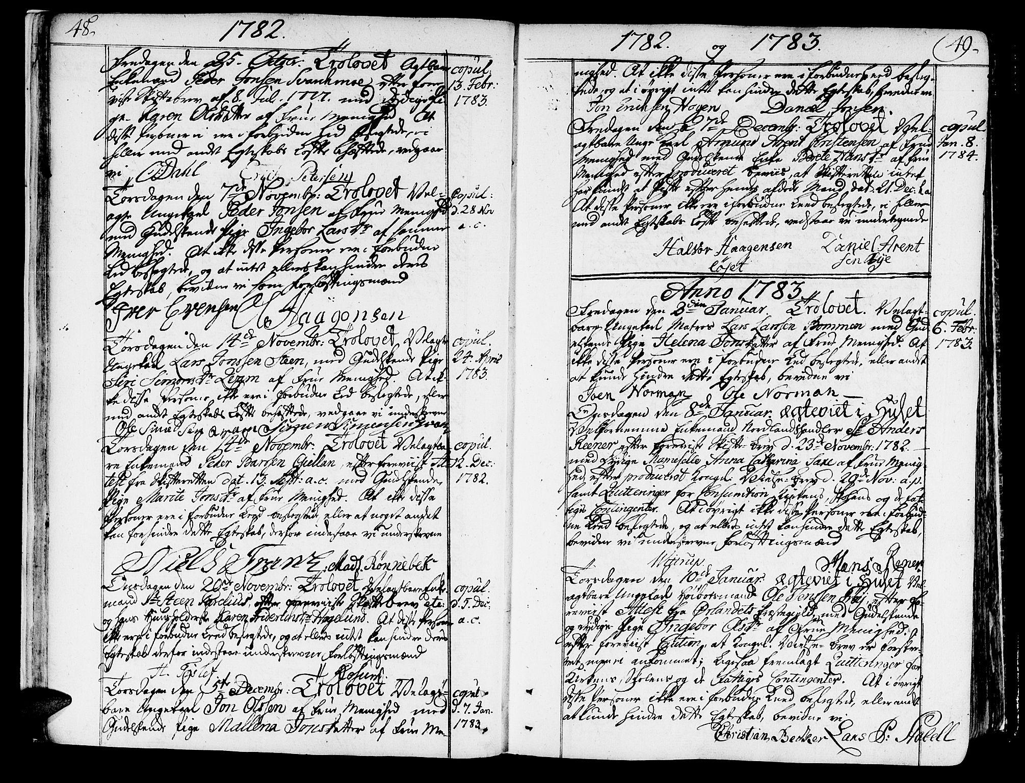 SAT, Ministerialprotokoller, klokkerbøker og fødselsregistre - Sør-Trøndelag, 602/L0105: Ministerialbok nr. 602A03, 1774-1814, s. 48-49