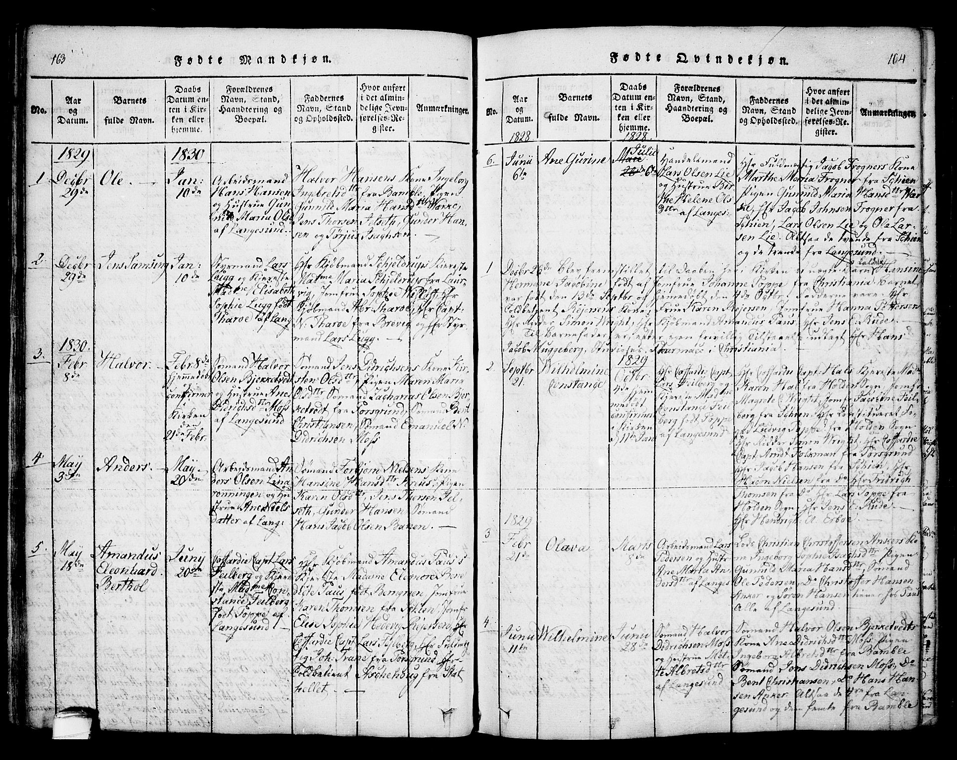 SAKO, Bamble kirkebøker, F/Fa/L0003: Ministerialbok nr. I 3 /2, 1815-1834, s. 163-164