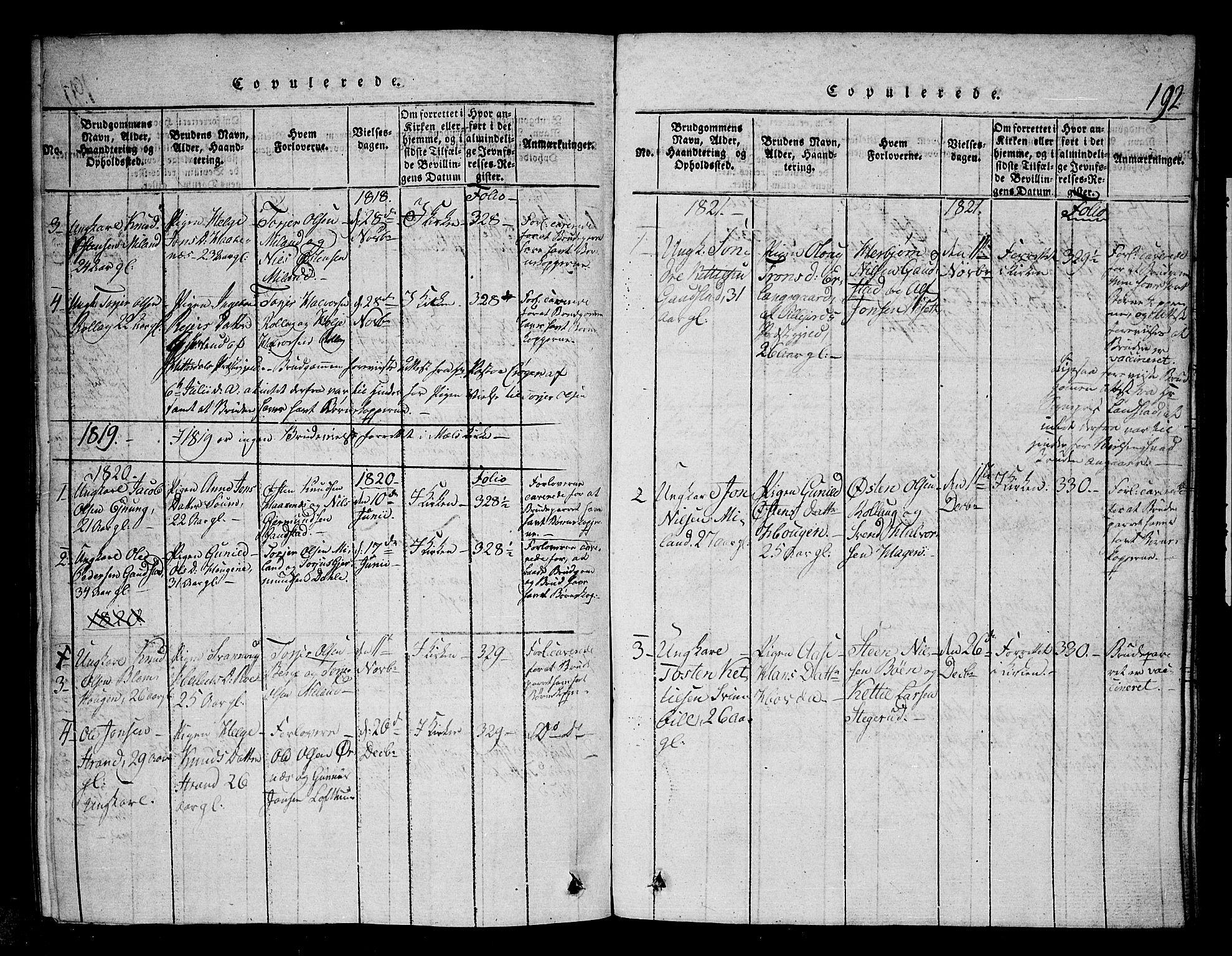 SAKO, Tinn kirkebøker, G/Gb/L0001: Klokkerbok nr. II 1 /1, 1815-1850, s. 192