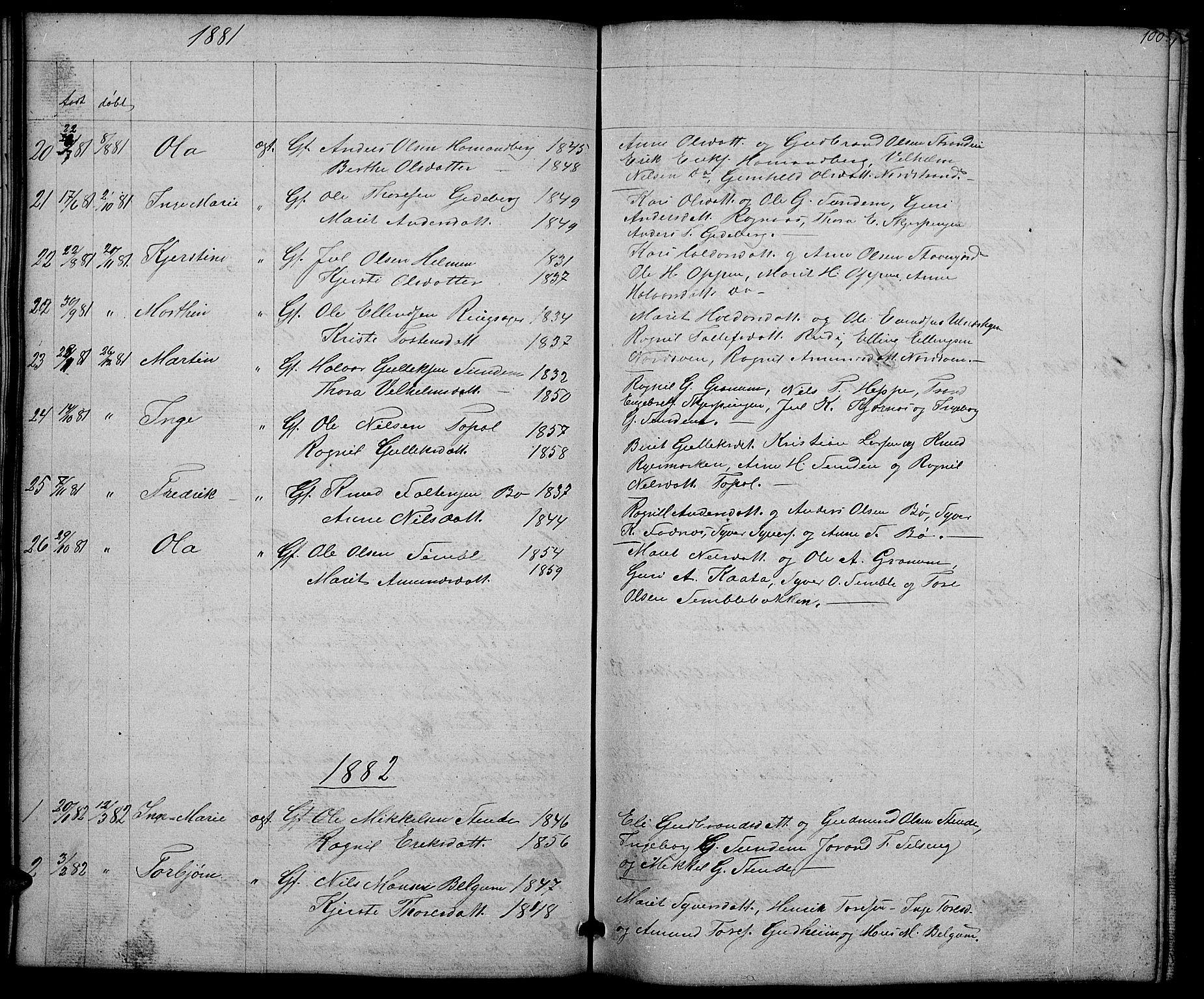 SAH, Nord-Aurdal prestekontor, Klokkerbok nr. 4, 1842-1882, s. 100