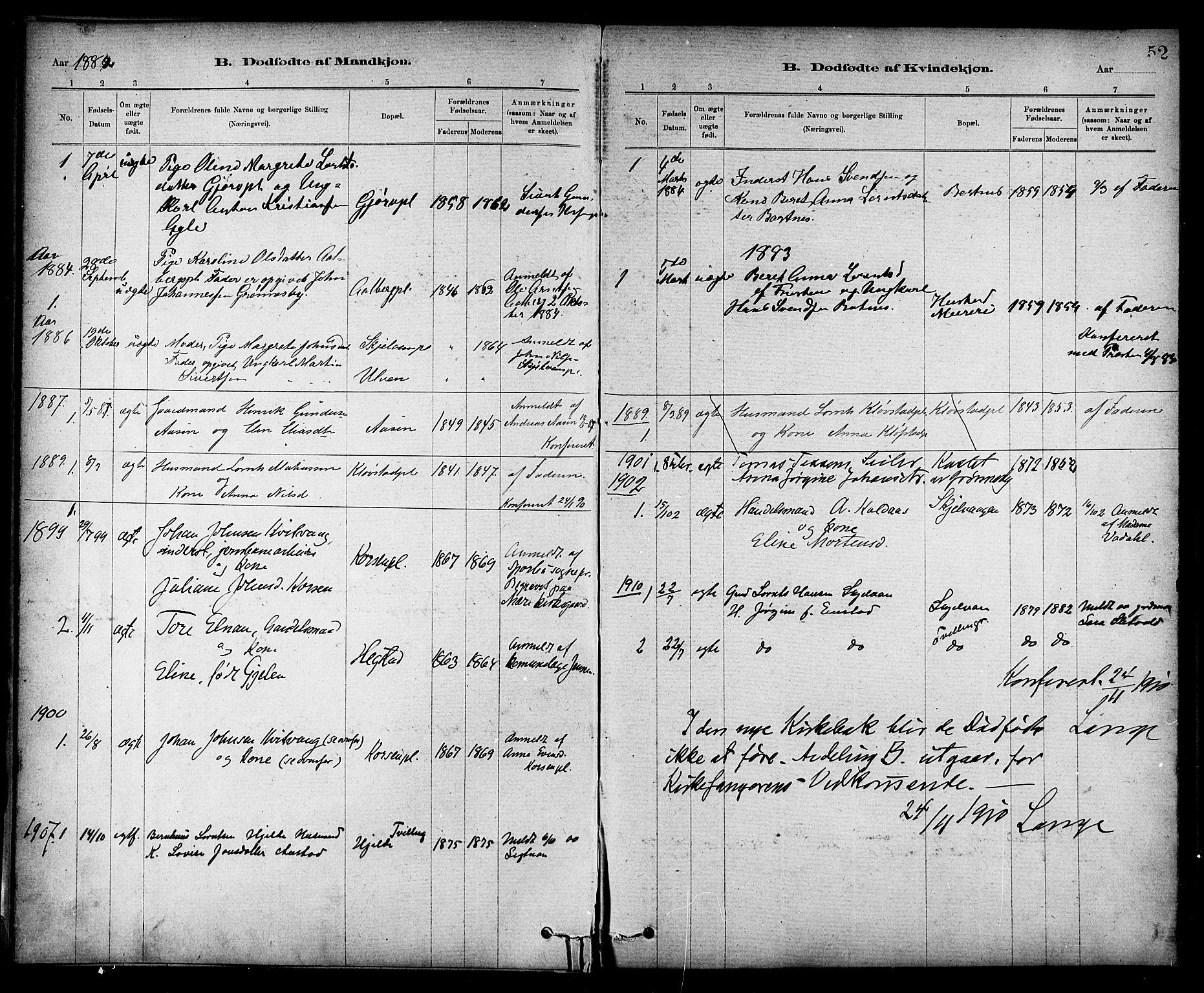 SAT, Ministerialprotokoller, klokkerbøker og fødselsregistre - Nord-Trøndelag, 732/L0318: Klokkerbok nr. 732C02, 1881-1911, s. 52
