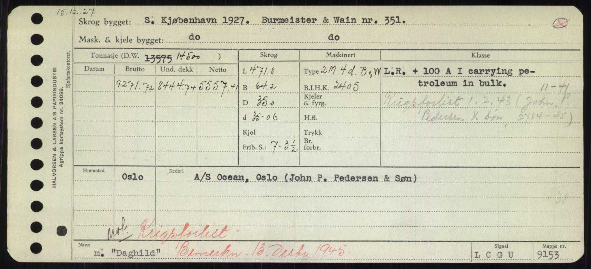 RA, Sjøfartsdirektoratet med forløpere, Skipsmålingen, H/Hd/L0008: Fartøy, C-D, s. 333