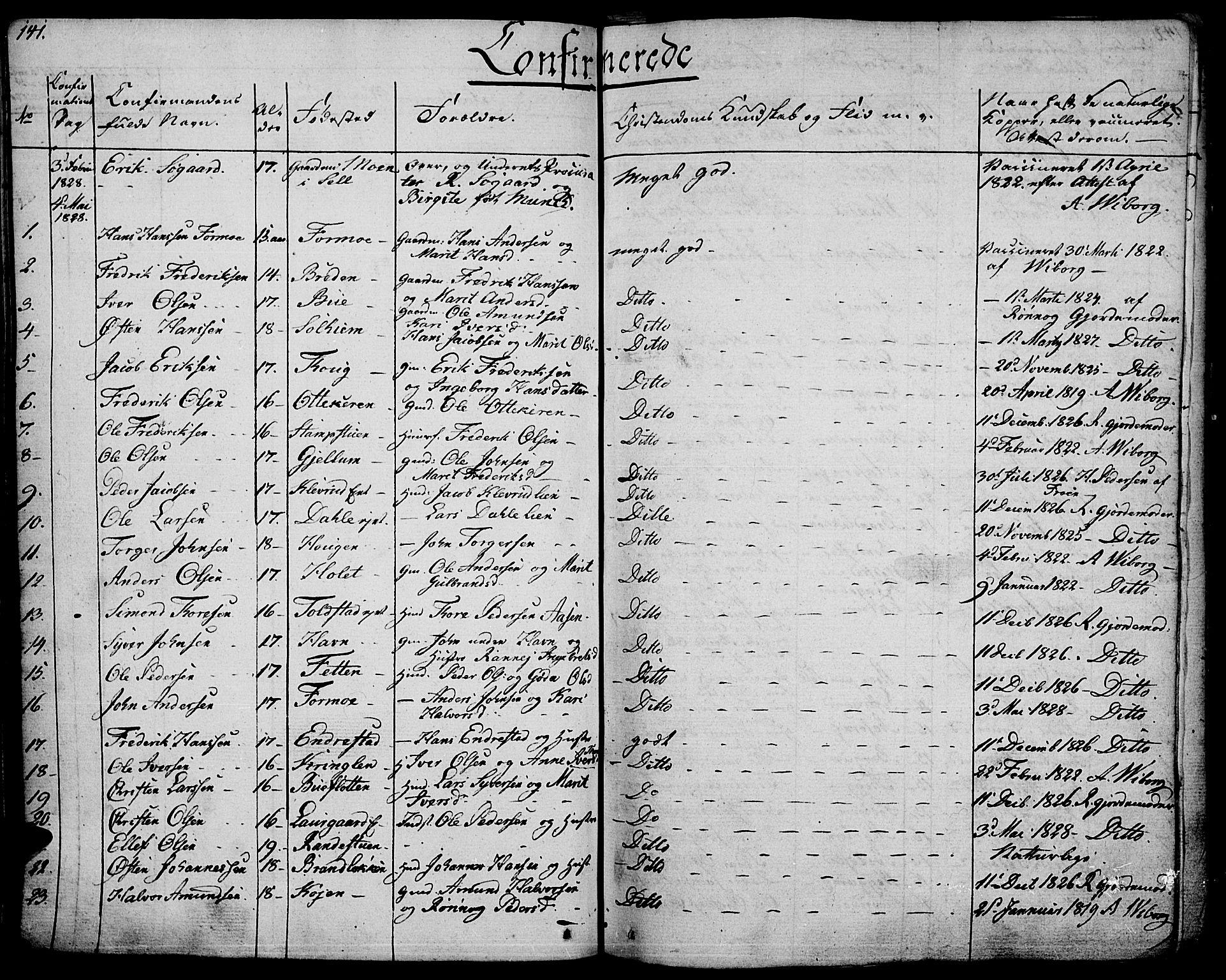 SAH, Vågå prestekontor, Ministerialbok nr. 4 /1, 1827-1842, s. 141