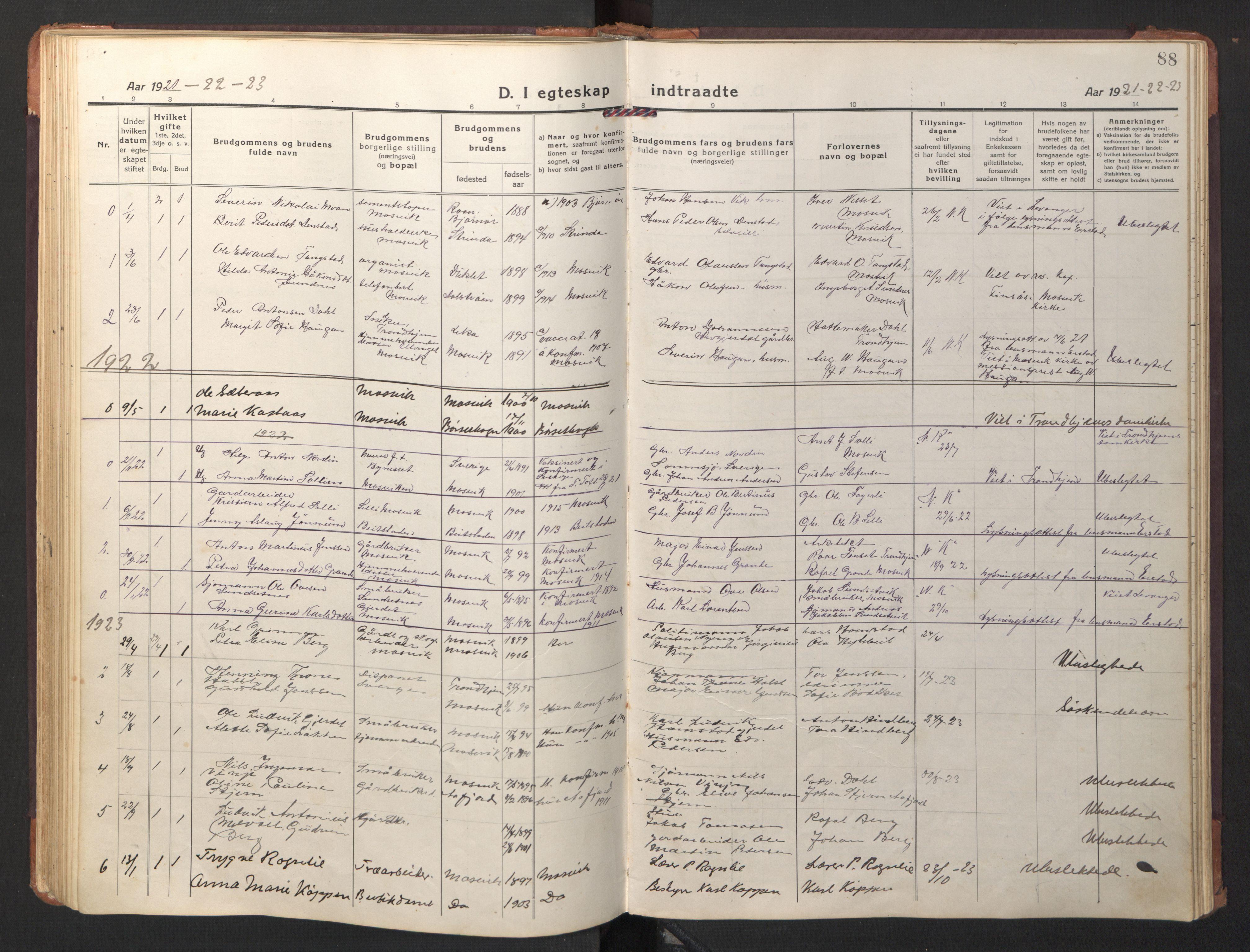 SAT, Ministerialprotokoller, klokkerbøker og fødselsregistre - Nord-Trøndelag, 733/L0328: Klokkerbok nr. 733C03, 1919-1966, s. 88
