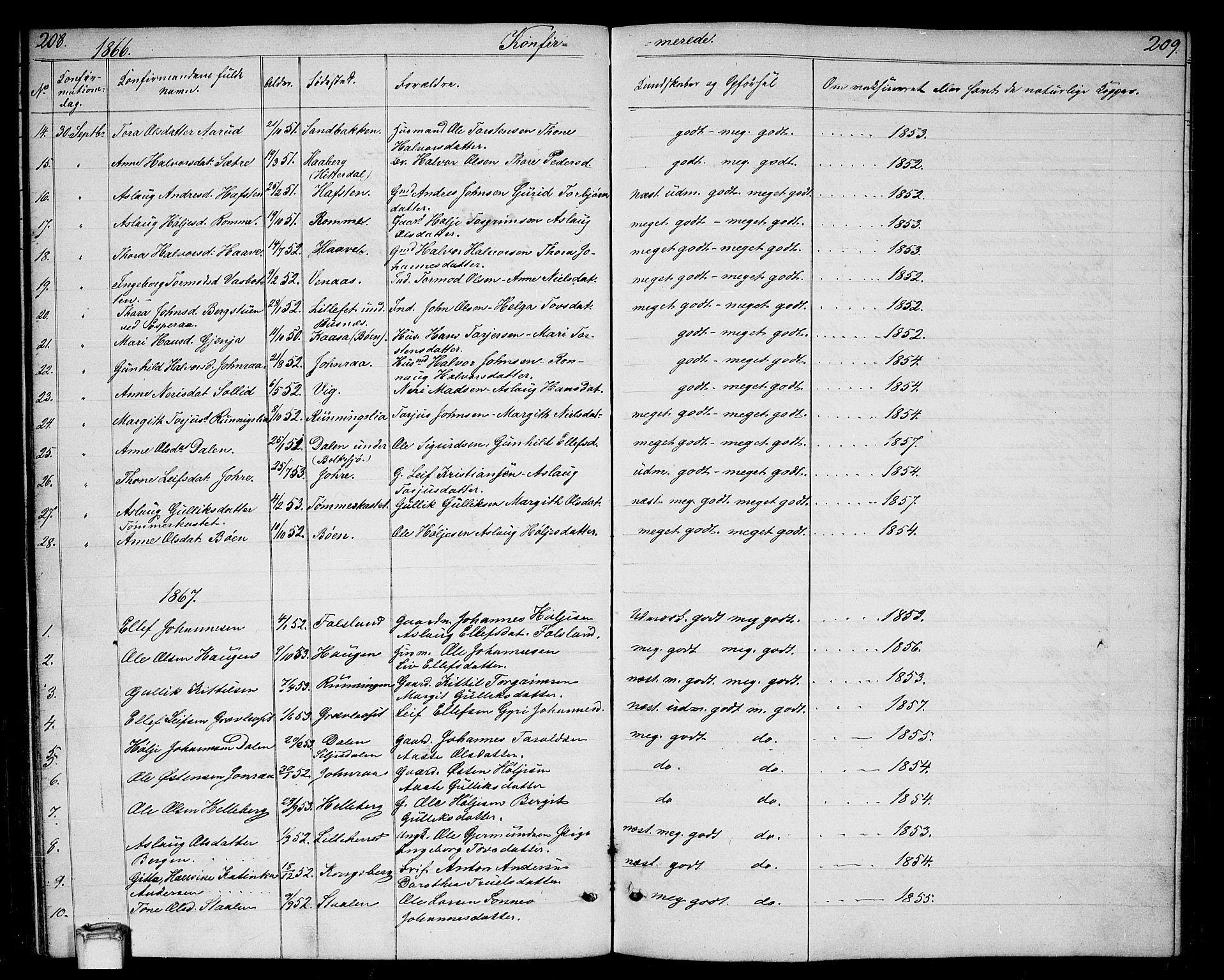 SAKO, Gransherad kirkebøker, G/Ga/L0002: Klokkerbok nr. I 2, 1854-1886, s. 208-209