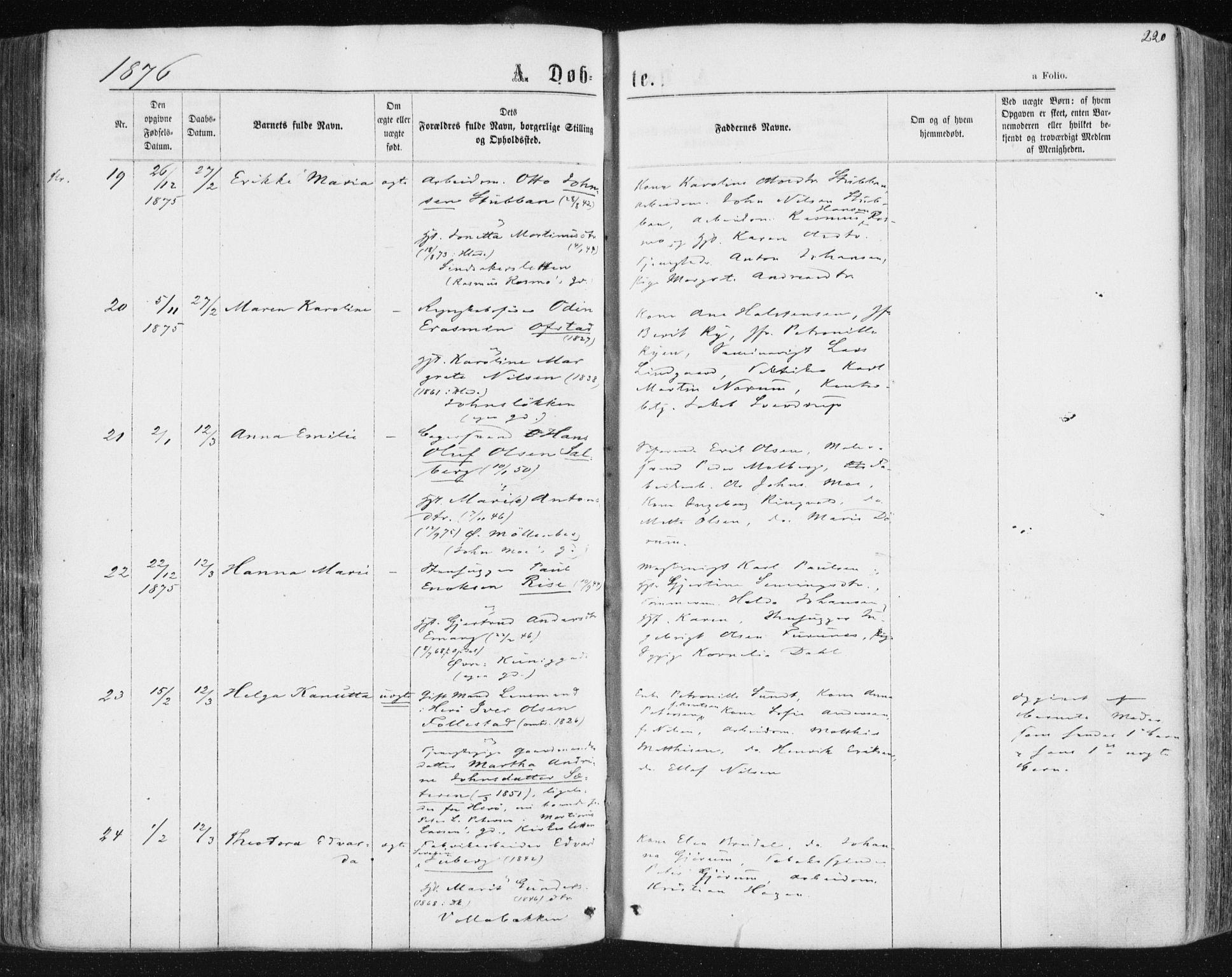 SAT, Ministerialprotokoller, klokkerbøker og fødselsregistre - Sør-Trøndelag, 604/L0186: Ministerialbok nr. 604A07, 1866-1877, s. 220