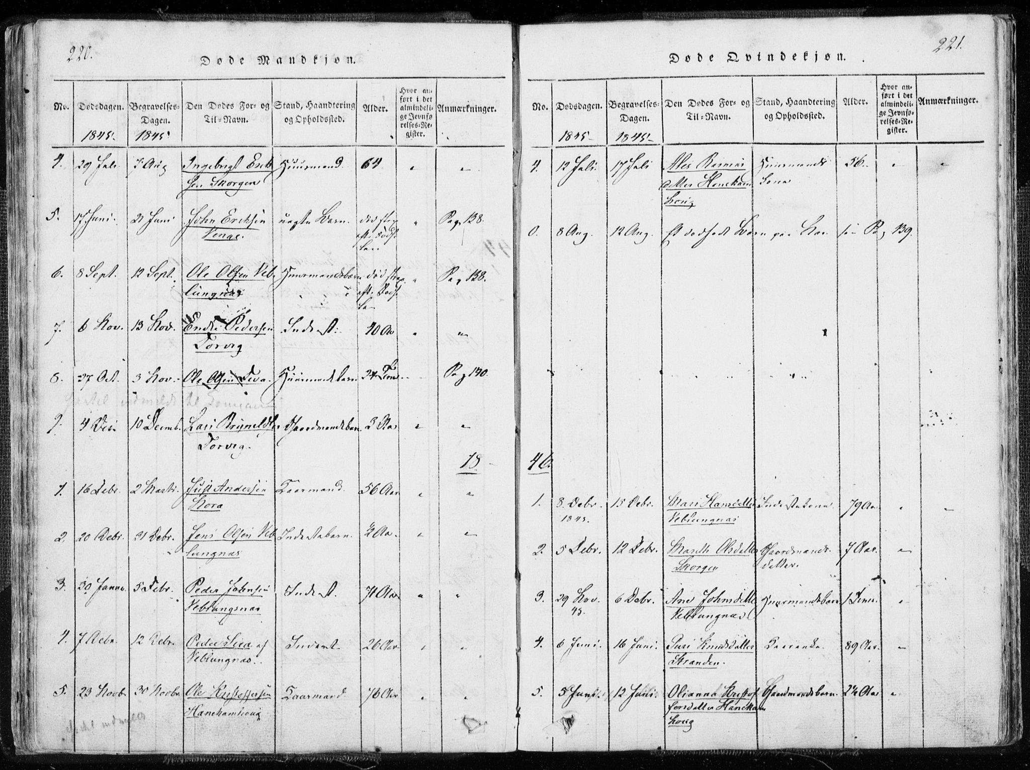 SAT, Ministerialprotokoller, klokkerbøker og fødselsregistre - Møre og Romsdal, 544/L0571: Ministerialbok nr. 544A04, 1818-1853, s. 220-221
