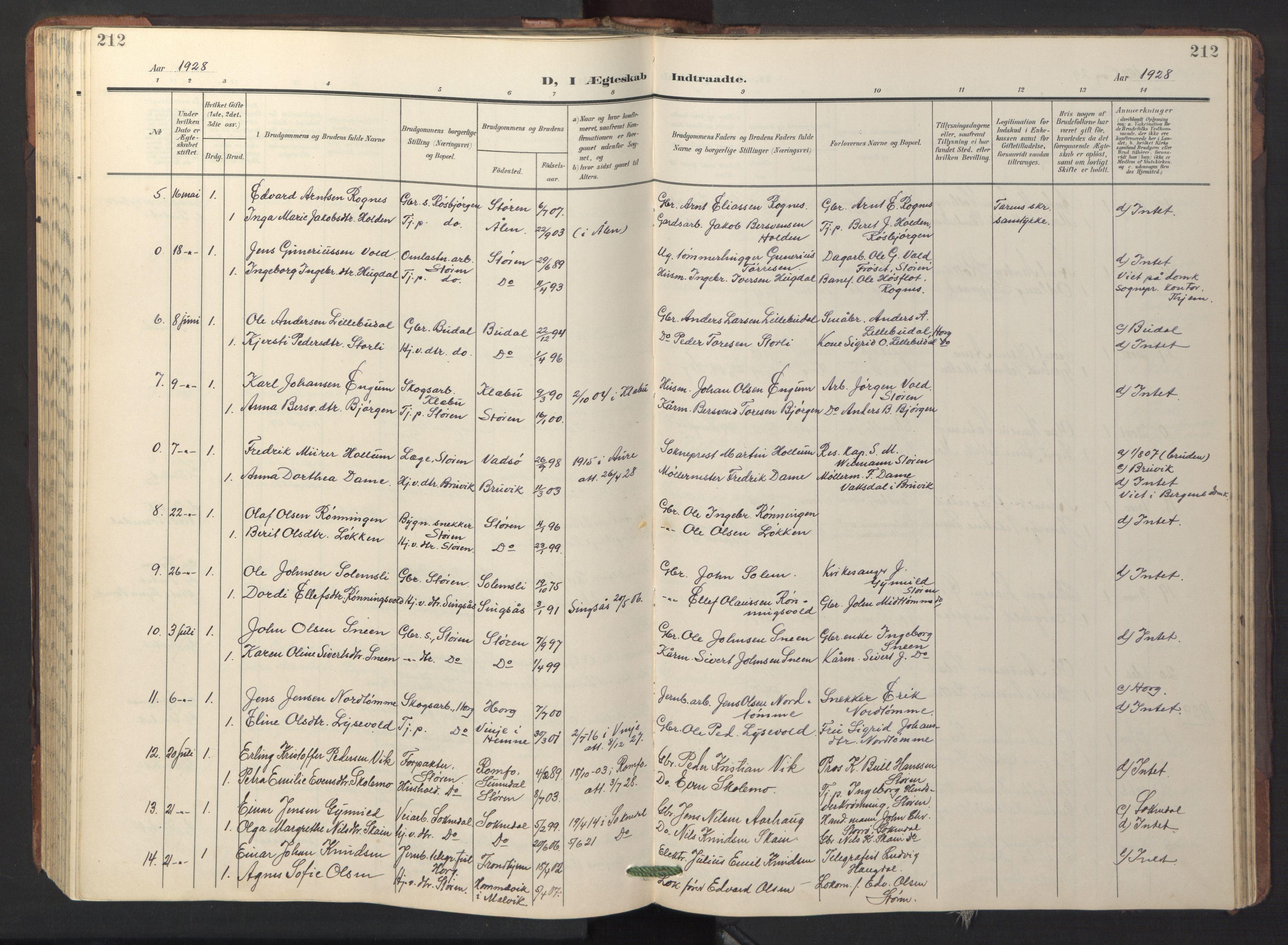 SAT, Ministerialprotokoller, klokkerbøker og fødselsregistre - Sør-Trøndelag, 687/L1019: Klokkerbok nr. 687C03, 1904-1931, s. 212