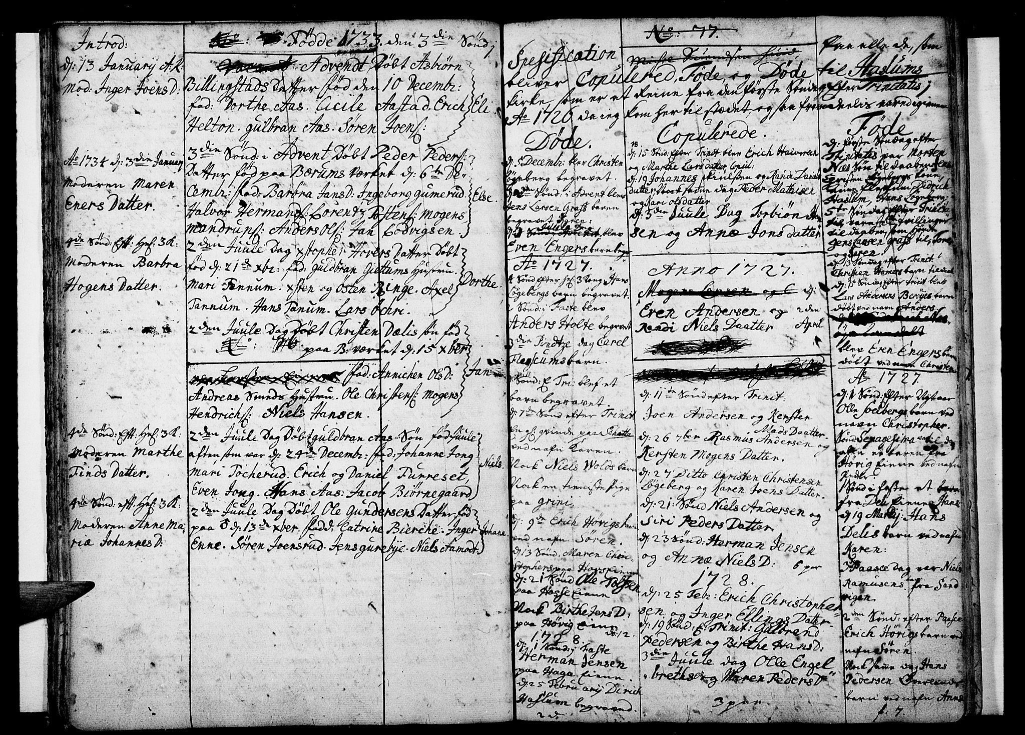 SAO, Asker prestekontor Kirkebøker, F/Fa/L0001: Ministerialbok nr. I 1, 1726-1744, s. 22