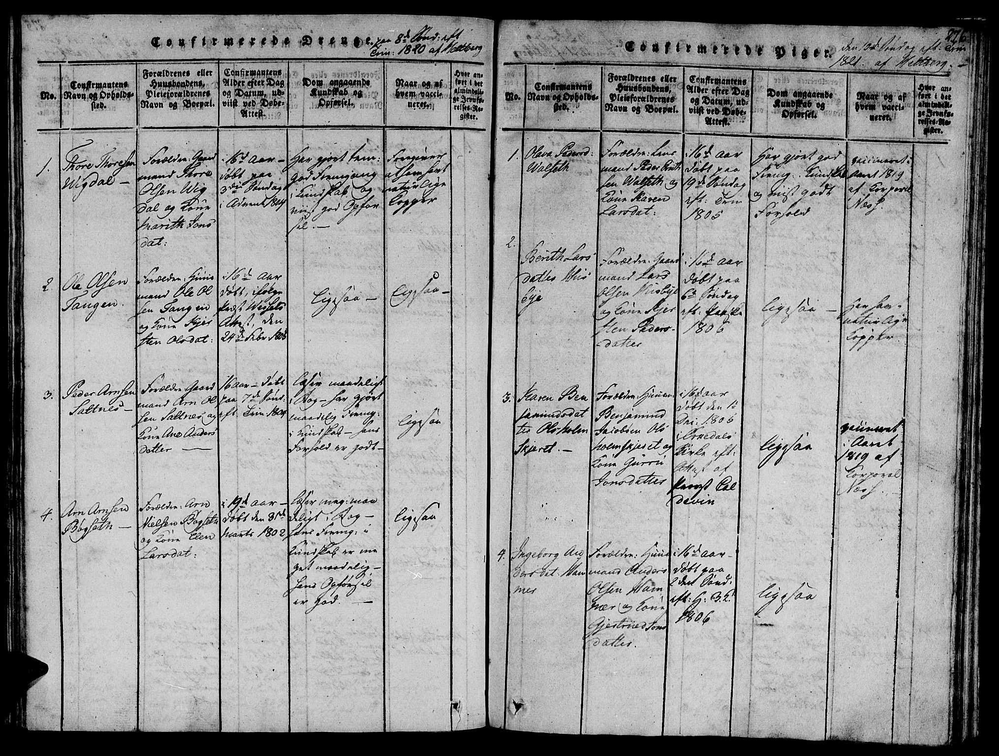 SAT, Ministerialprotokoller, klokkerbøker og fødselsregistre - Sør-Trøndelag, 612/L0373: Ministerialbok nr. 612A06 /2, 1816-1828, s. 276