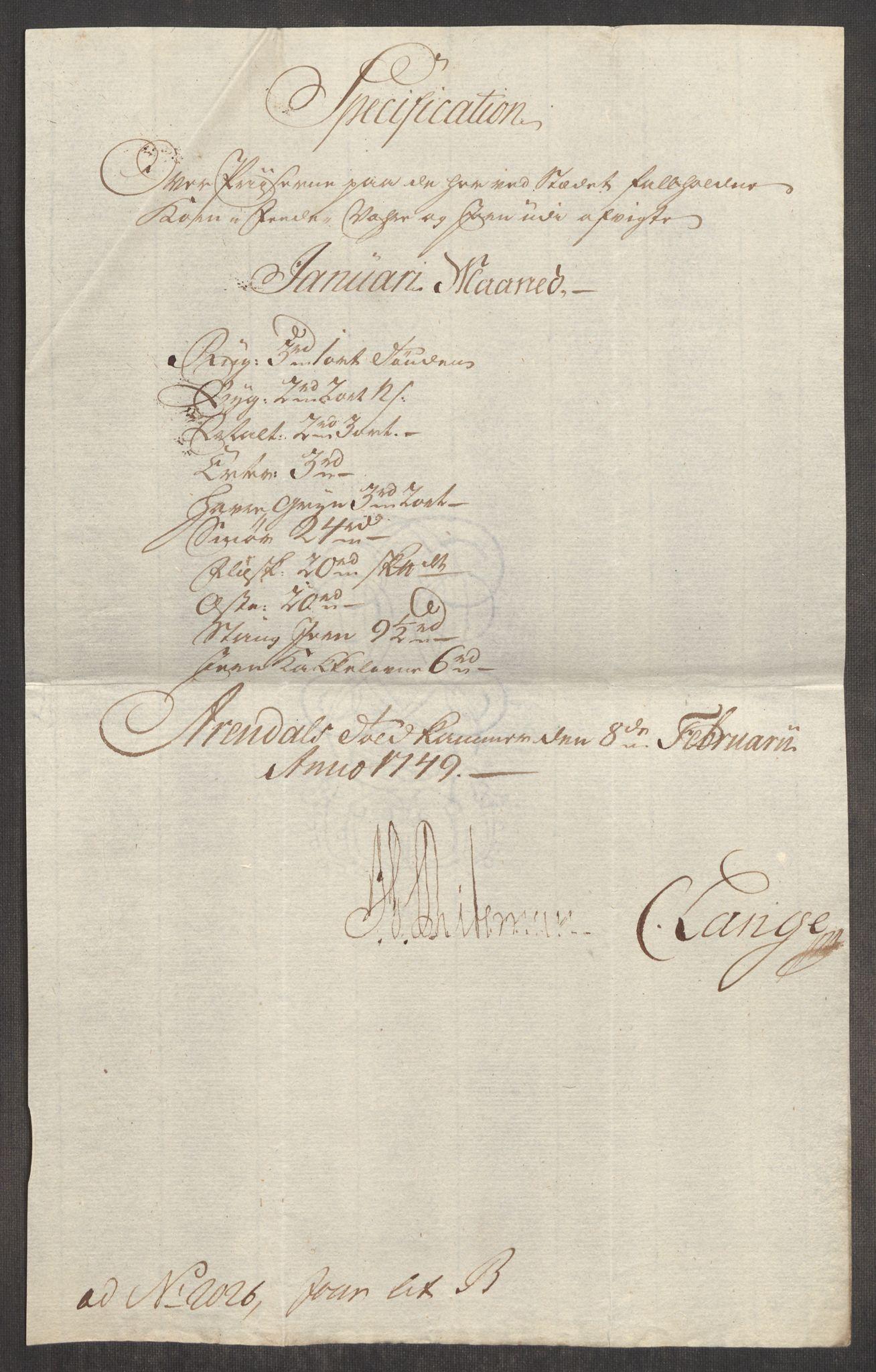 RA, Rentekammeret inntil 1814, Realistisk ordnet avdeling, Oe/L0004: [Ø1]: Priskuranter, 1749-1752, s. 144