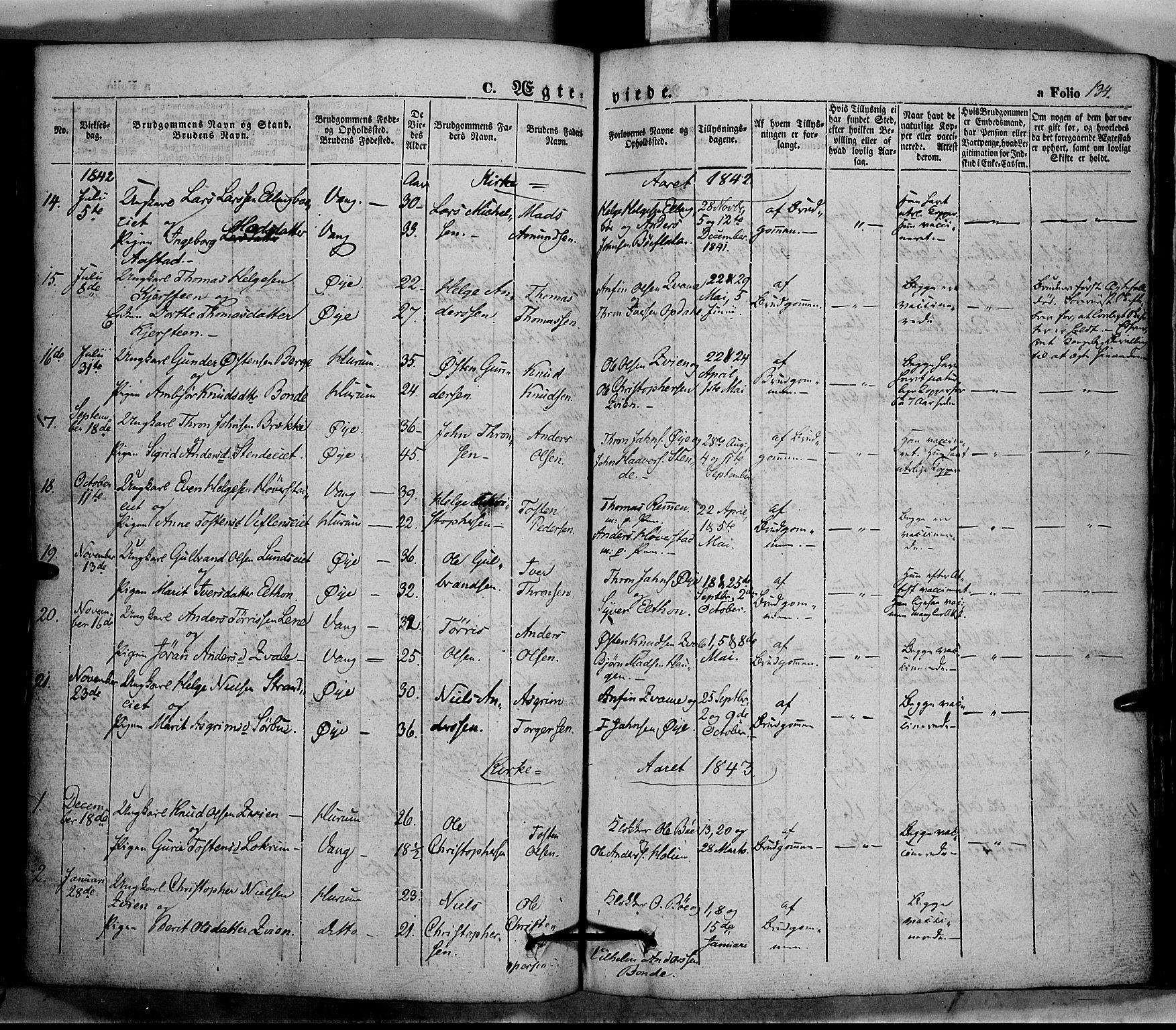 SAH, Vang prestekontor, Valdres, Ministerialbok nr. 5, 1831-1845, s. 134