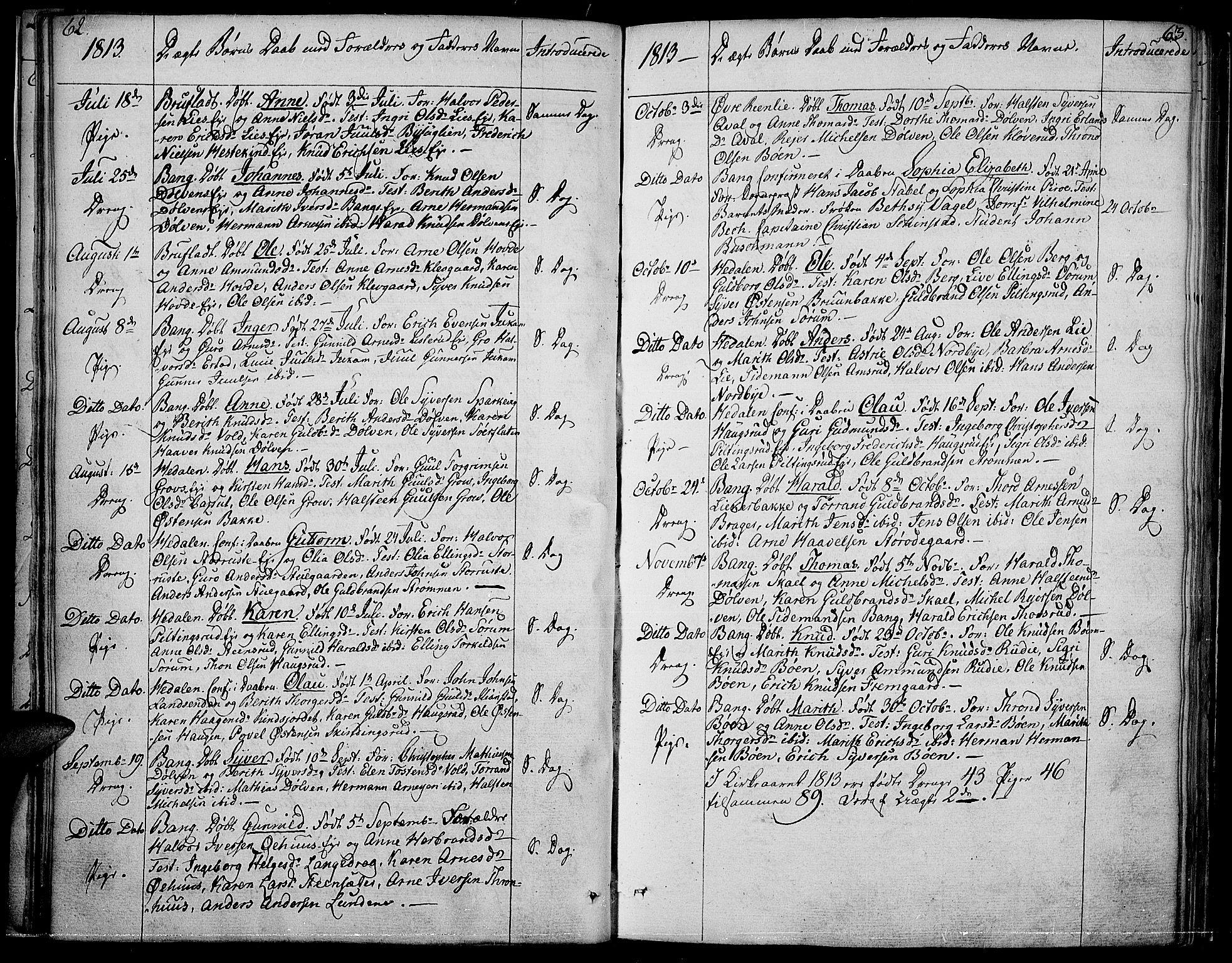 SAH, Sør-Aurdal prestekontor, Ministerialbok nr. 1, 1807-1815, s. 62-63