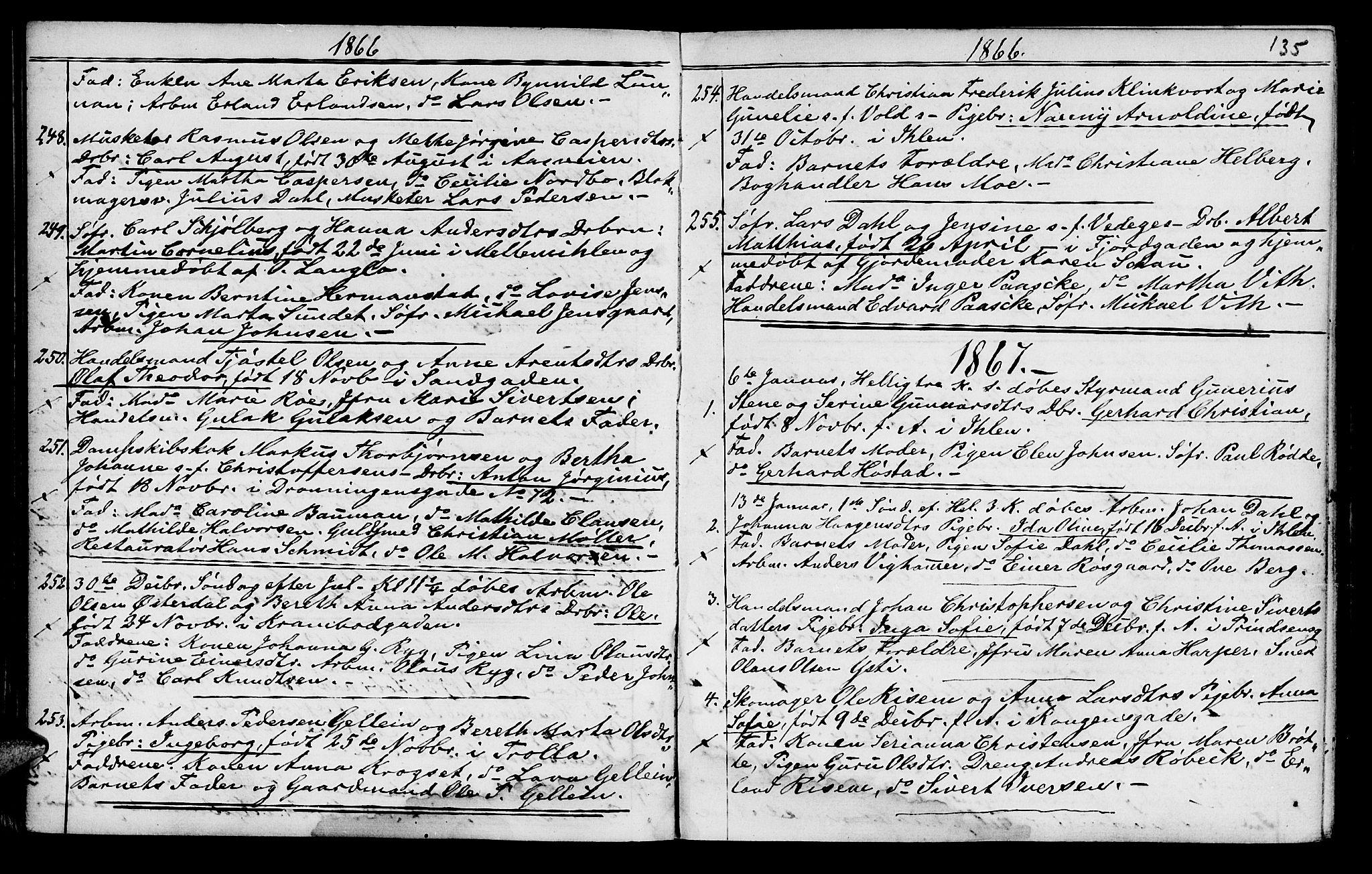 SAT, Ministerialprotokoller, klokkerbøker og fødselsregistre - Sør-Trøndelag, 602/L0140: Klokkerbok nr. 602C08, 1864-1872, s. 134-135