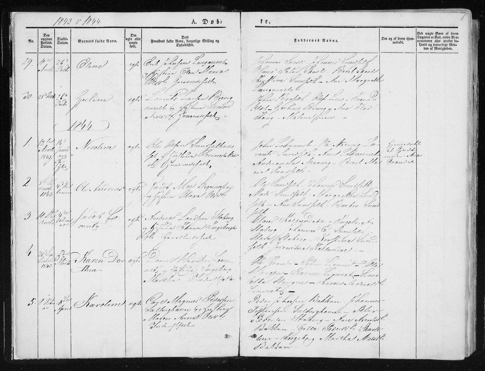 SAT, Ministerialprotokoller, klokkerbøker og fødselsregistre - Nord-Trøndelag, 733/L0323: Ministerialbok nr. 733A02, 1843-1870, s. 6