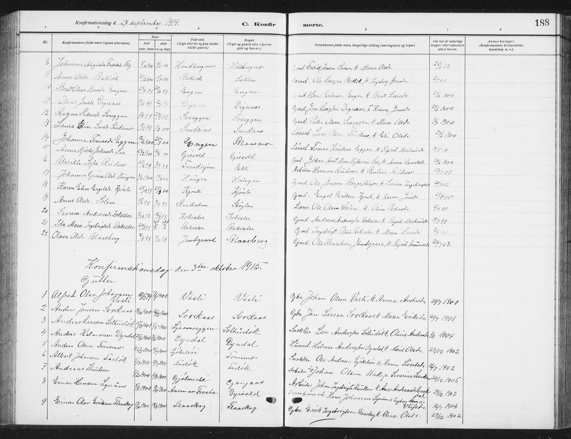 SAT, Ministerialprotokoller, klokkerbøker og fødselsregistre - Sør-Trøndelag, 668/L0820: Klokkerbok nr. 668C09, 1912-1936, s. 188