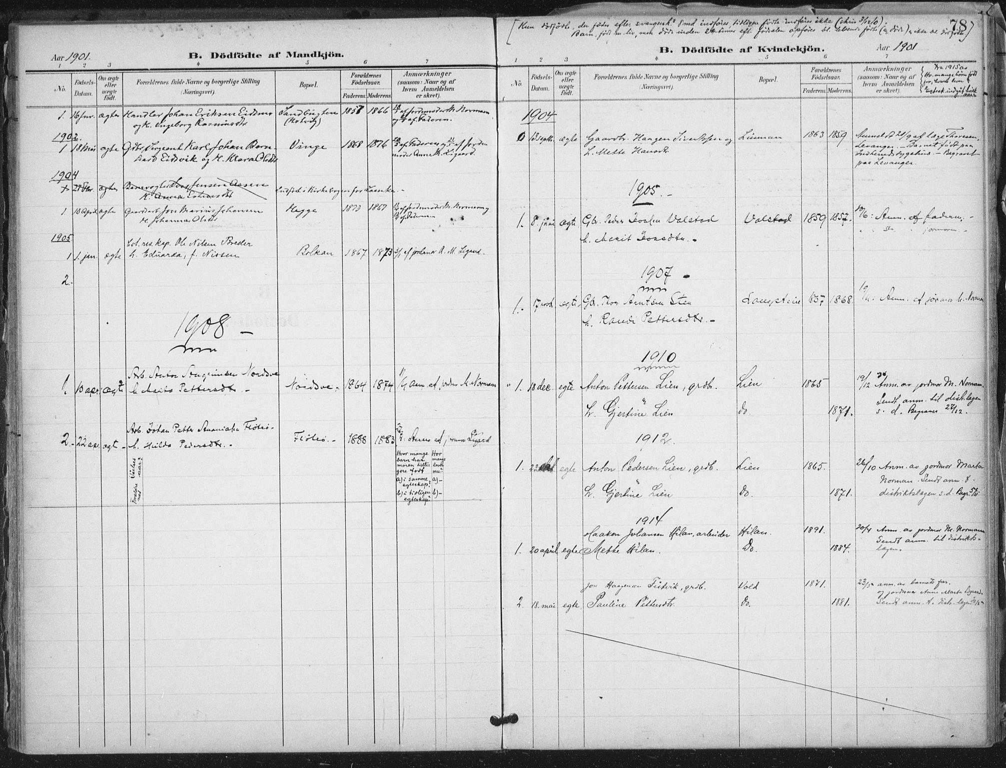 SAT, Ministerialprotokoller, klokkerbøker og fødselsregistre - Nord-Trøndelag, 712/L0101: Ministerialbok nr. 712A02, 1901-1916, s. 78