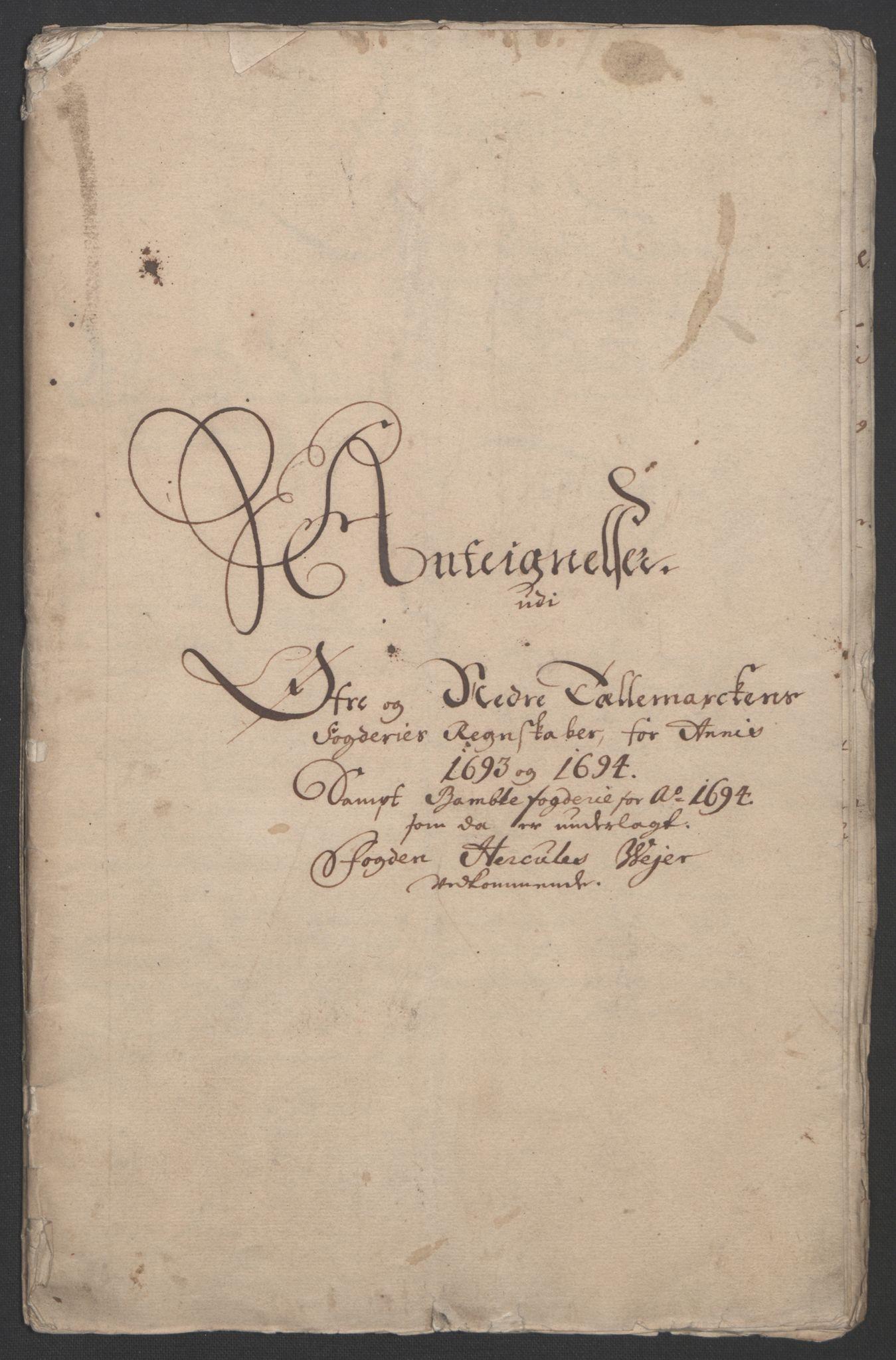 RA, Rentekammeret inntil 1814, Reviderte regnskaper, Fogderegnskap, R36/L2092: Fogderegnskap Øvre og Nedre Telemark og Bamble, 1694, s. 275