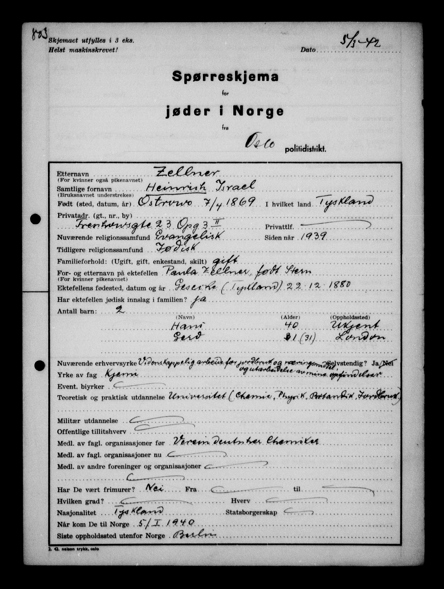 RA, Statspolitiet - Hovedkontoret / Osloavdelingen, G/Ga/L0011: Spørreskjema for jøder i Norge. 1: Oslo 610-806 (Plavnik-Zwillinger). 2: Aker 1-113 (Adler-Lewin). , 1942, s. 192