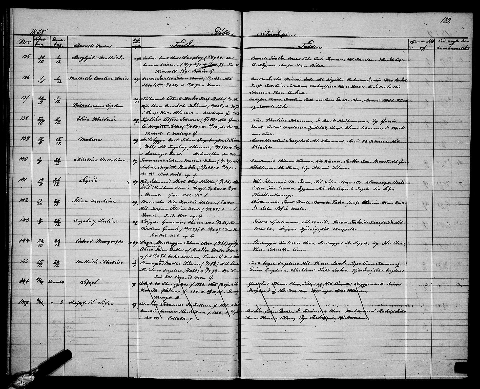 SAT, Ministerialprotokoller, klokkerbøker og fødselsregistre - Sør-Trøndelag, 604/L0220: Klokkerbok nr. 604C03, 1870-1885, s. 182