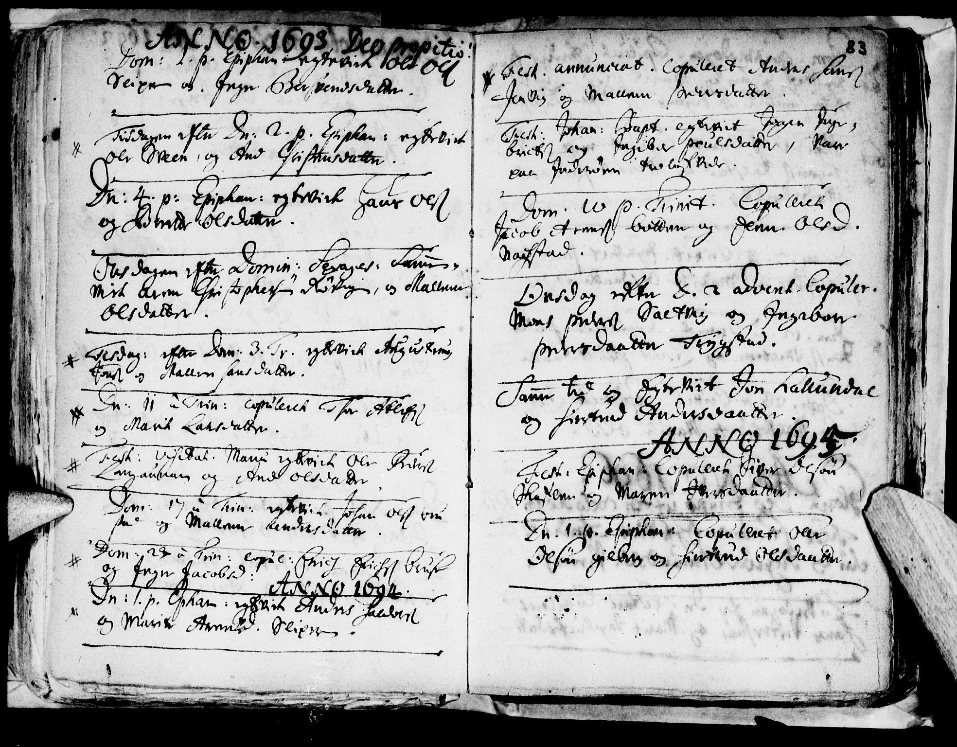 SAT, Ministerialprotokoller, klokkerbøker og fødselsregistre - Nord-Trøndelag, 722/L0214: Ministerialbok nr. 722A01, 1692-1718, s. 83