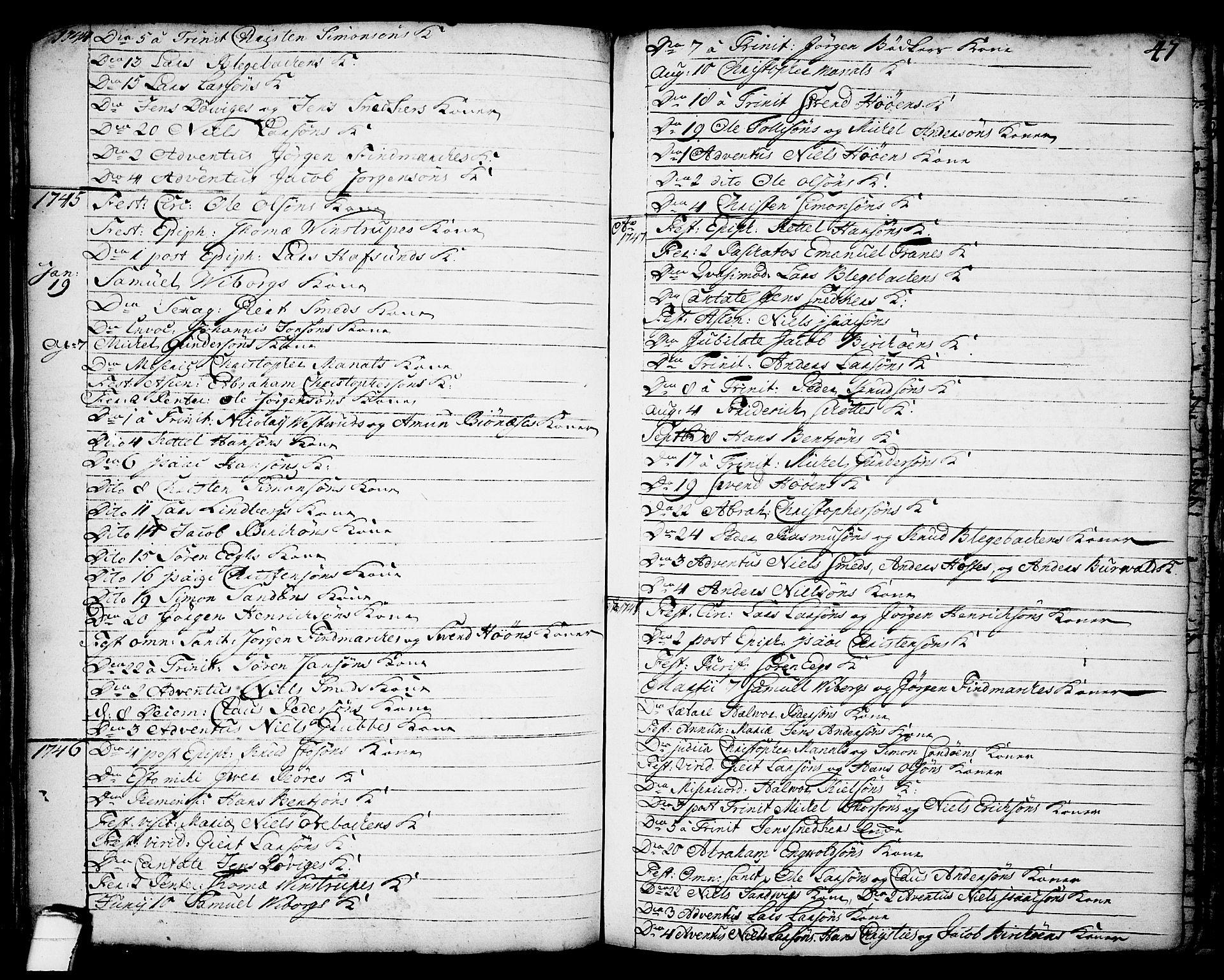 SAKO, Brevik kirkebøker, F/Fa/L0002: Ministerialbok nr. 2, 1720-1764, s. 47a