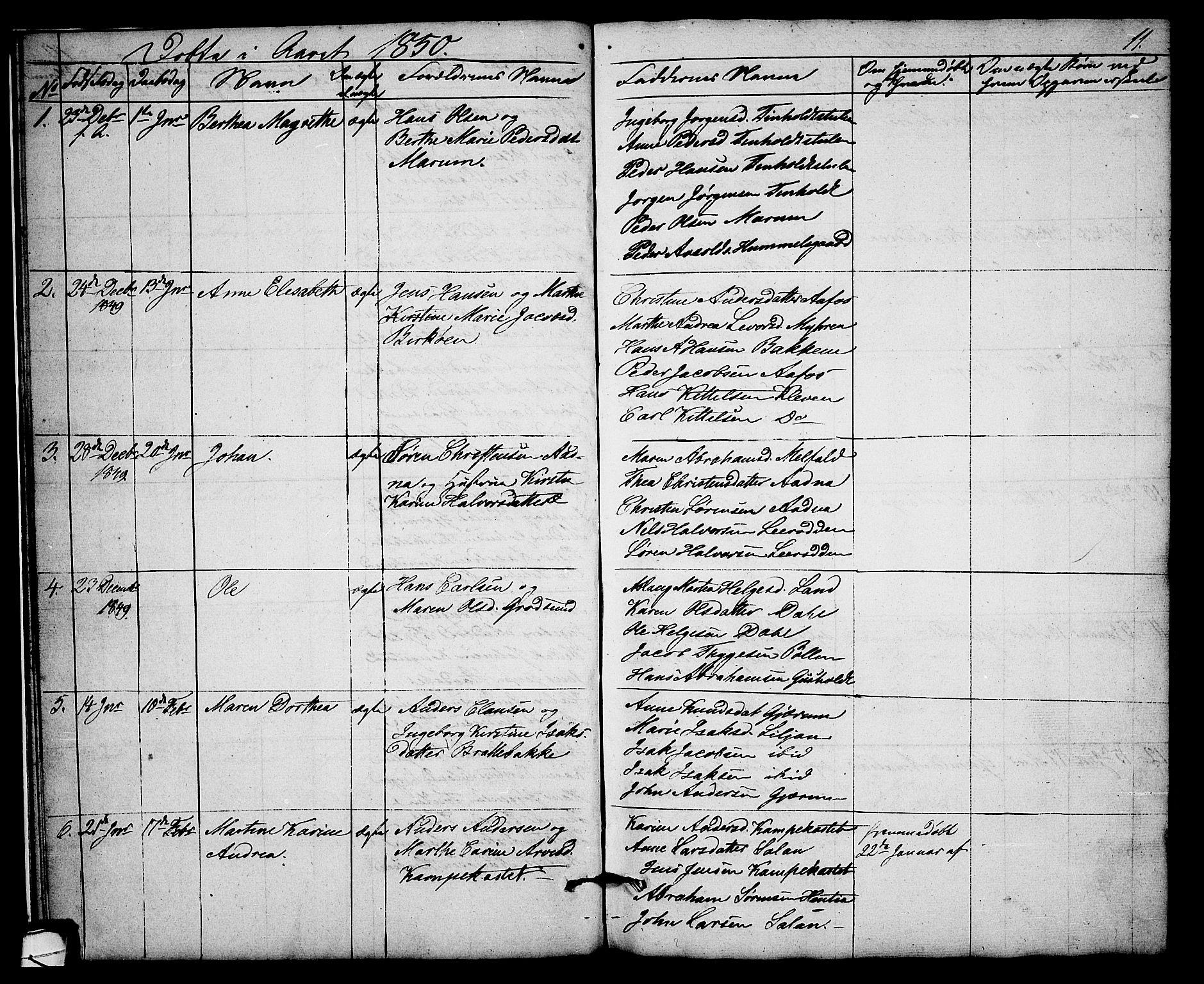 SAKO, Solum kirkebøker, G/Gb/L0001: Klokkerbok nr. II 1, 1848-1859, s. 11