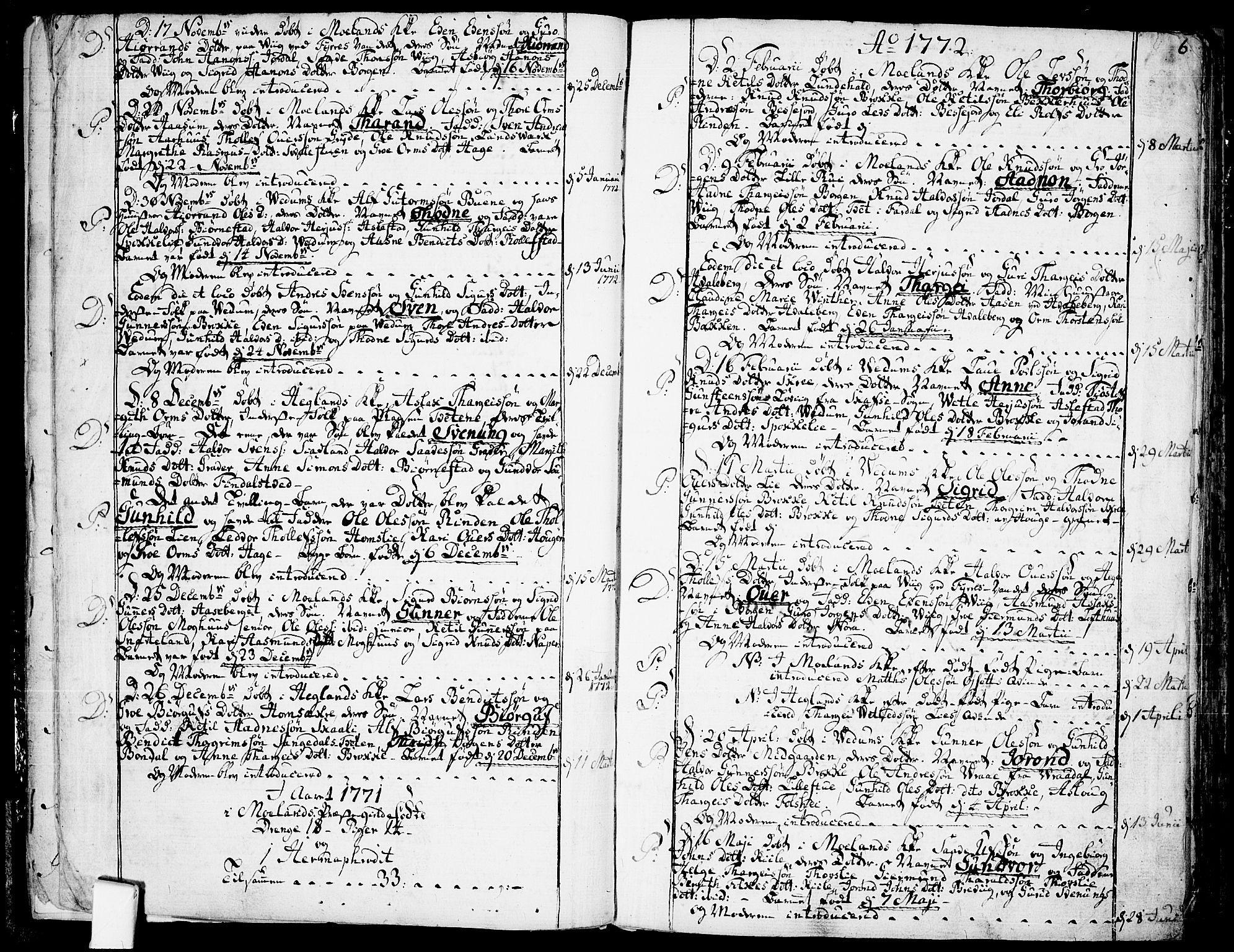 SAKO, Fyresdal kirkebøker, F/Fa/L0002: Ministerialbok nr. I 2, 1769-1814, s. 6