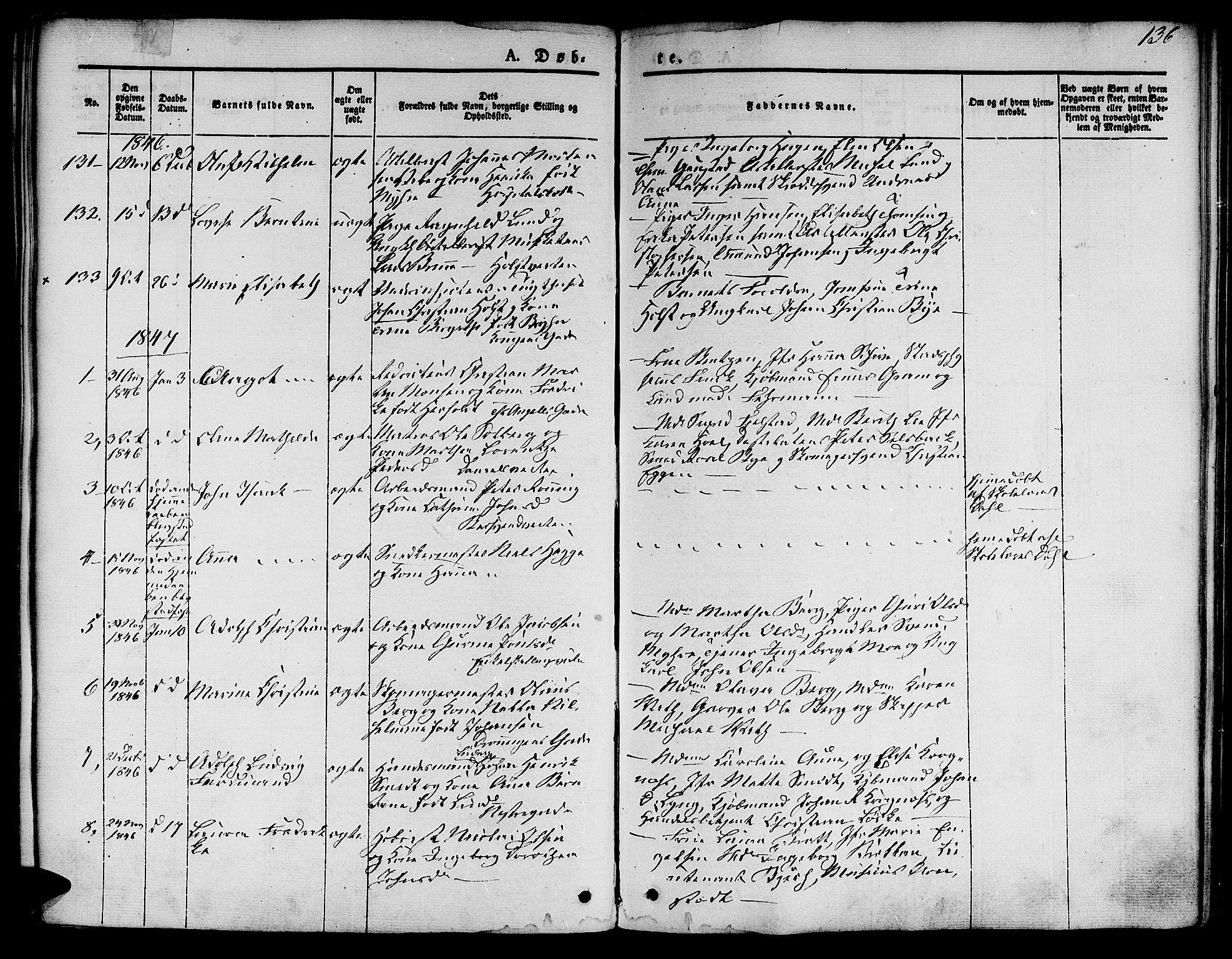 SAT, Ministerialprotokoller, klokkerbøker og fødselsregistre - Sør-Trøndelag, 601/L0048: Ministerialbok nr. 601A16, 1840-1847, s. 136