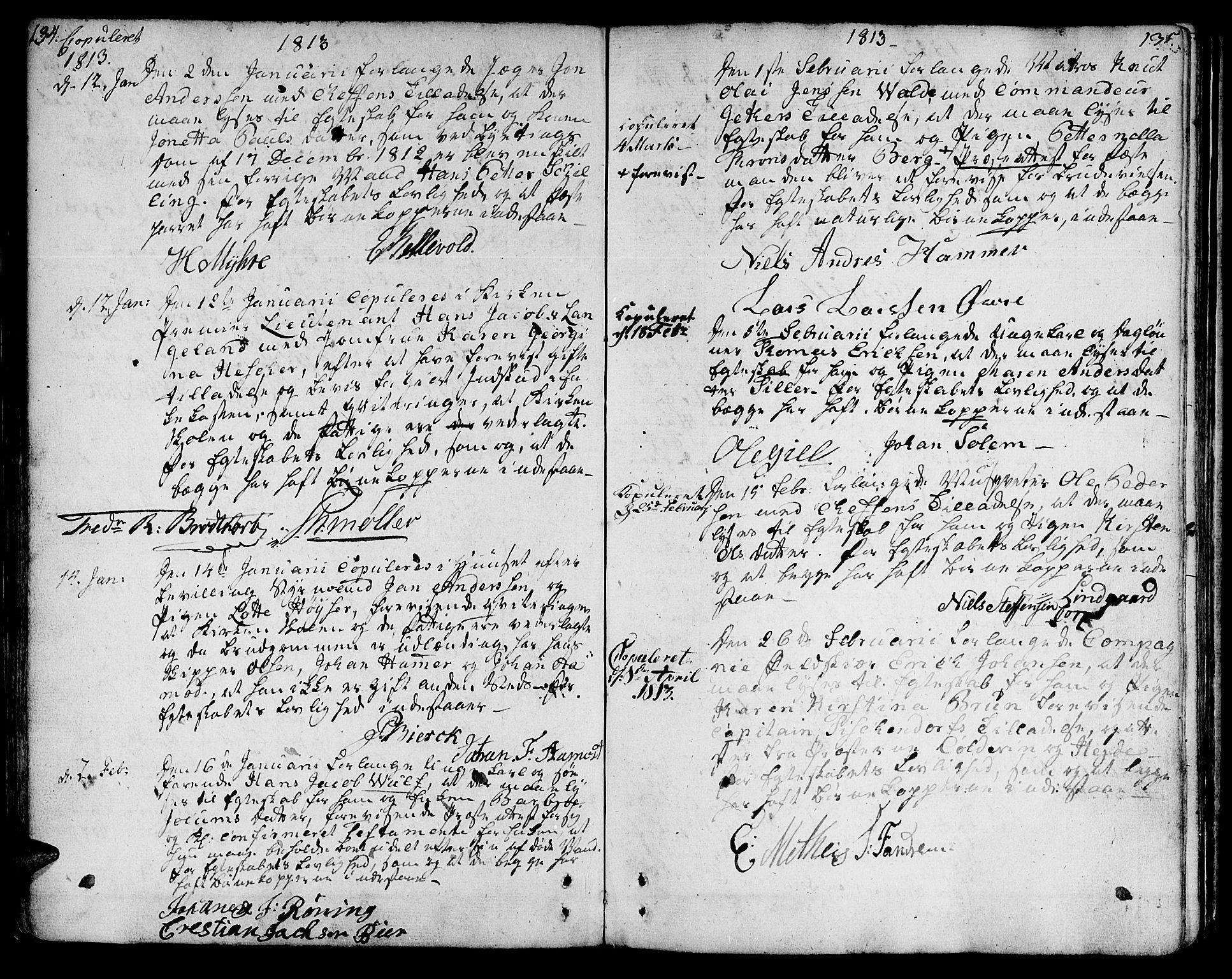 SAT, Ministerialprotokoller, klokkerbøker og fødselsregistre - Sør-Trøndelag, 601/L0042: Ministerialbok nr. 601A10, 1802-1830, s. 134-135