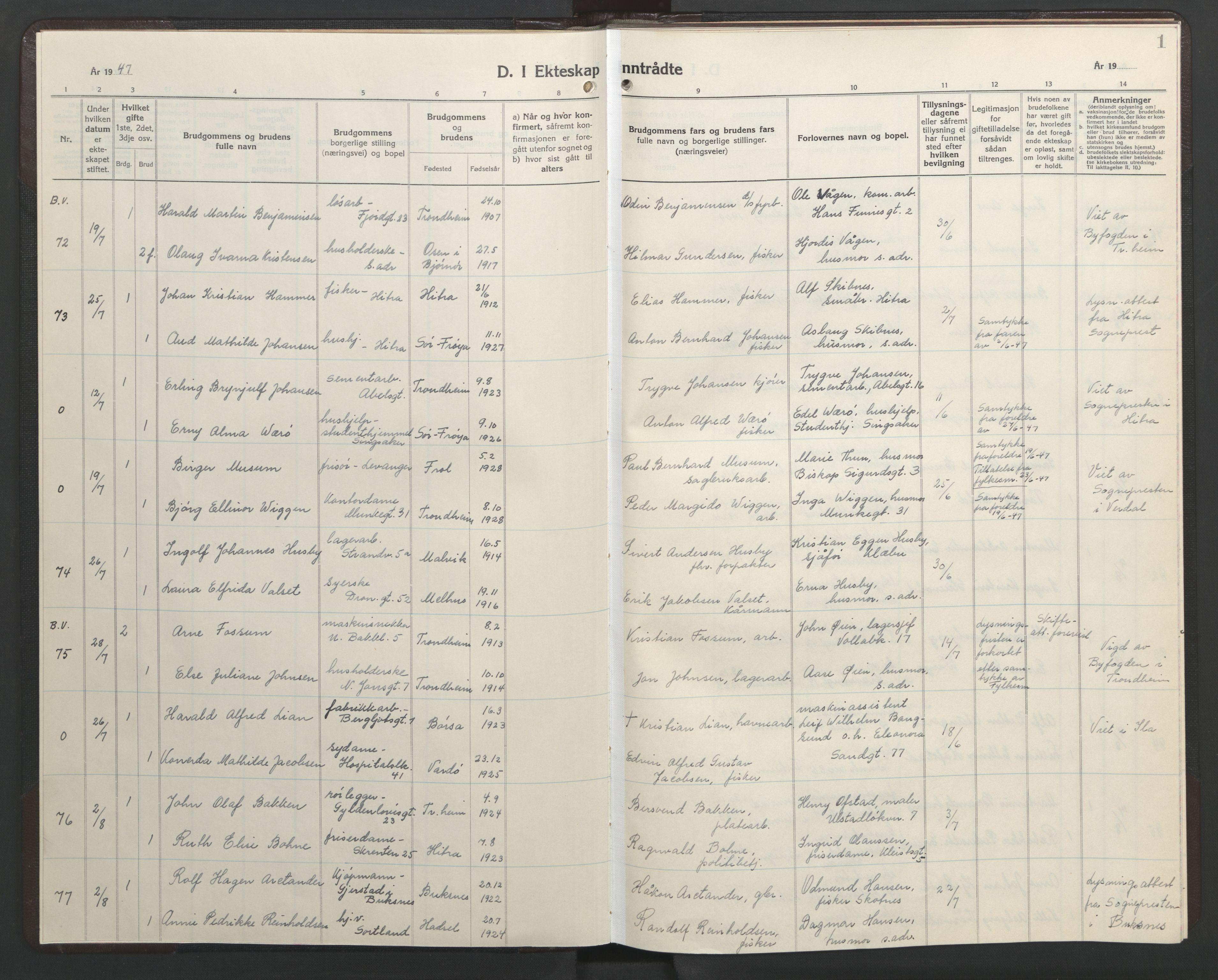 SAT, Ministerialprotokoller, klokkerbøker og fødselsregistre - Sør-Trøndelag, 602/L0155: Klokkerbok nr. 602C23, 1947-1950, s. 1