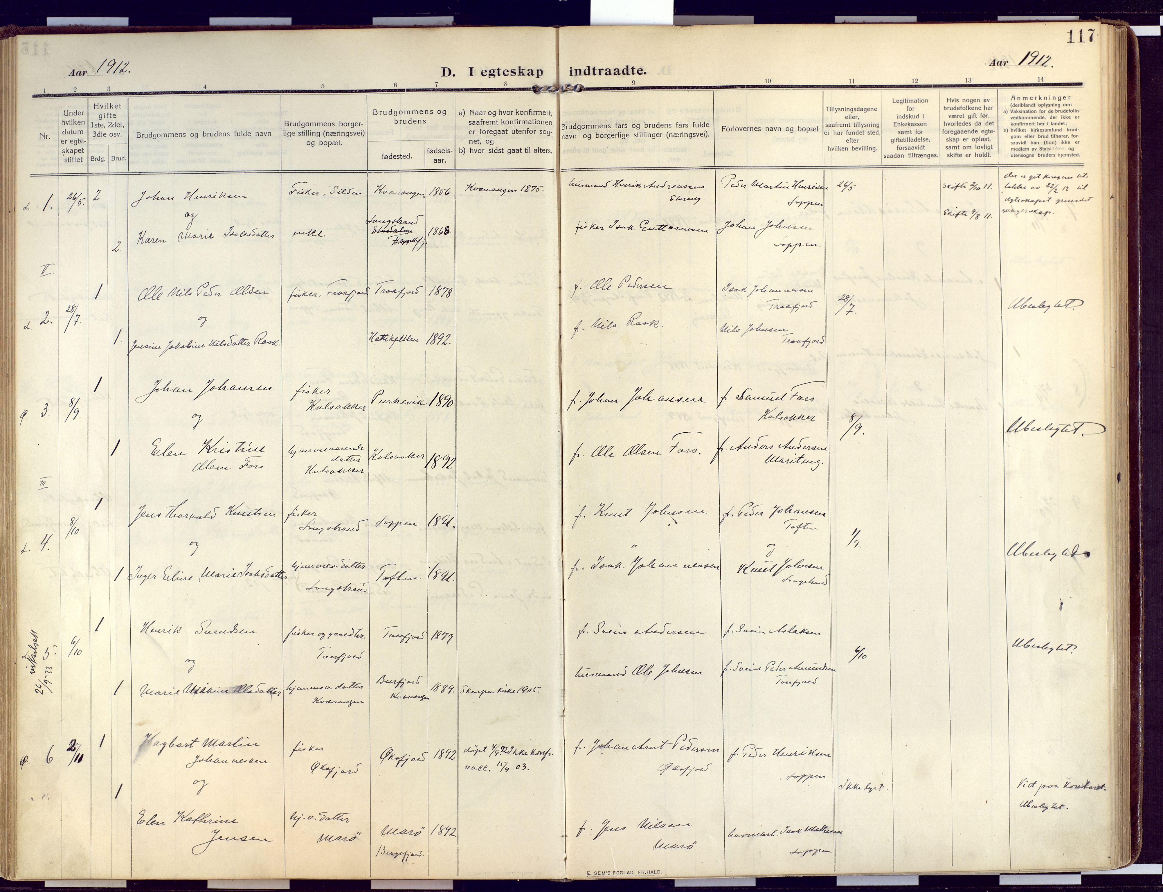 SATØ, Loppa sokneprestkontor, H/Ha/L0011kirke: Ministerialbok nr. 11, 1909-1919, s. 117