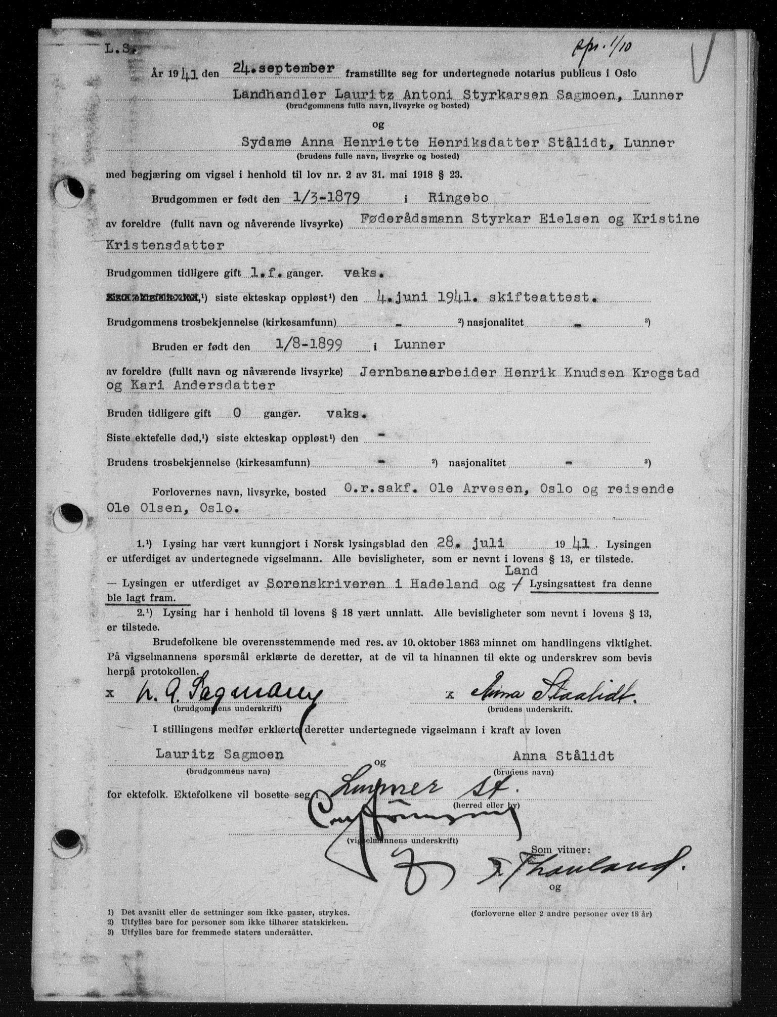 SAO, Oslo byfogd avd. I, L/Lb/Lbb/L0038: Notarialprotokoll, rekke II: Vigsler, 1941-1942, s. upaginert