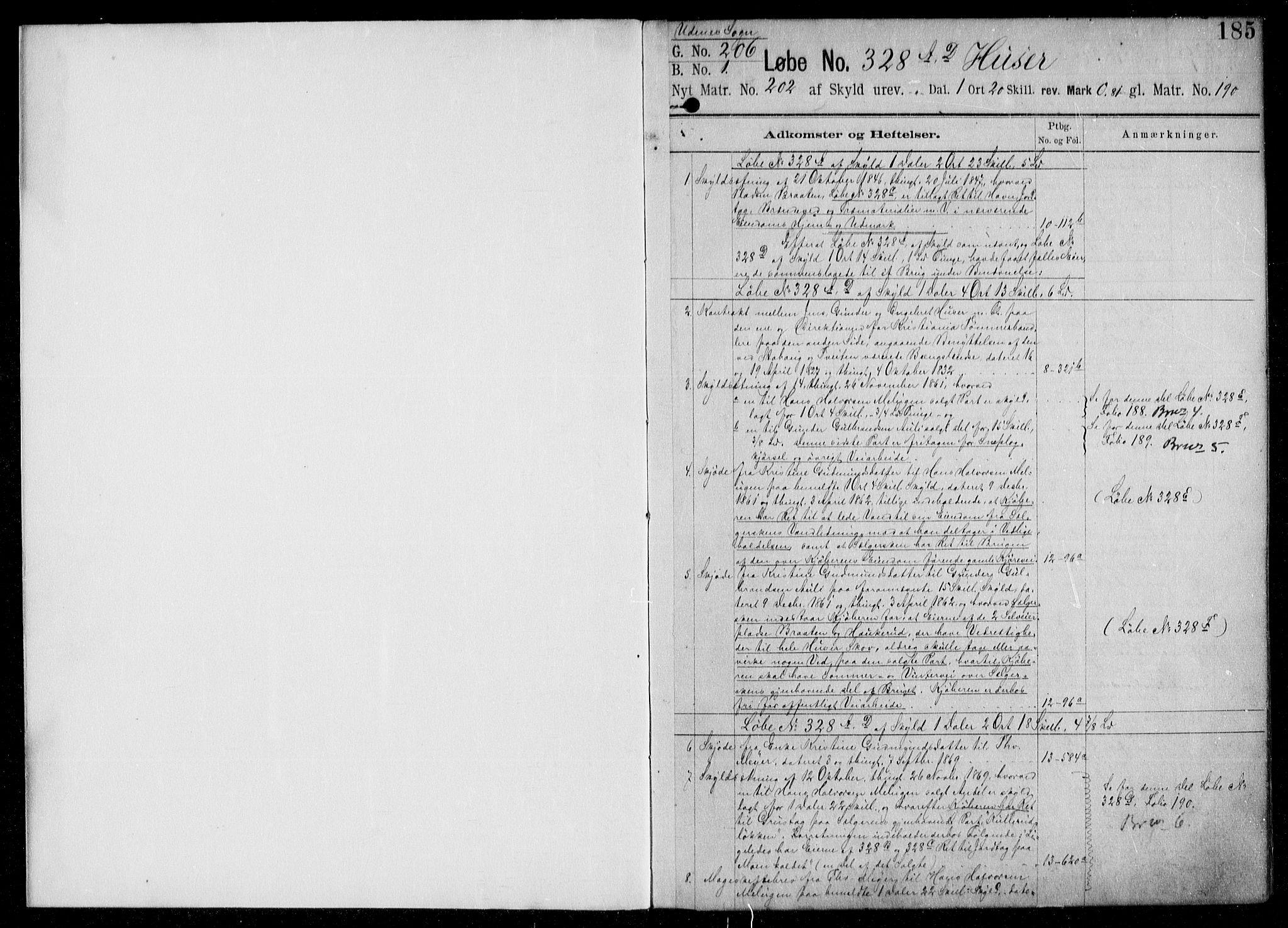 SAO, Nes tingrett, G/Ga/Gab/Gaba/L0006.b: Panteregister nr. I 6b, s. 185
